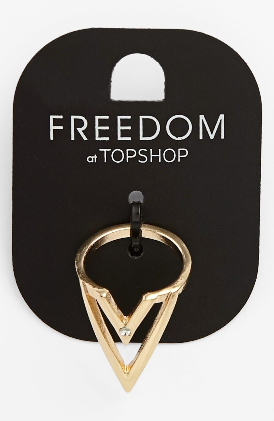 TOPSHOP V-Cutout Ring, Main, color, 710