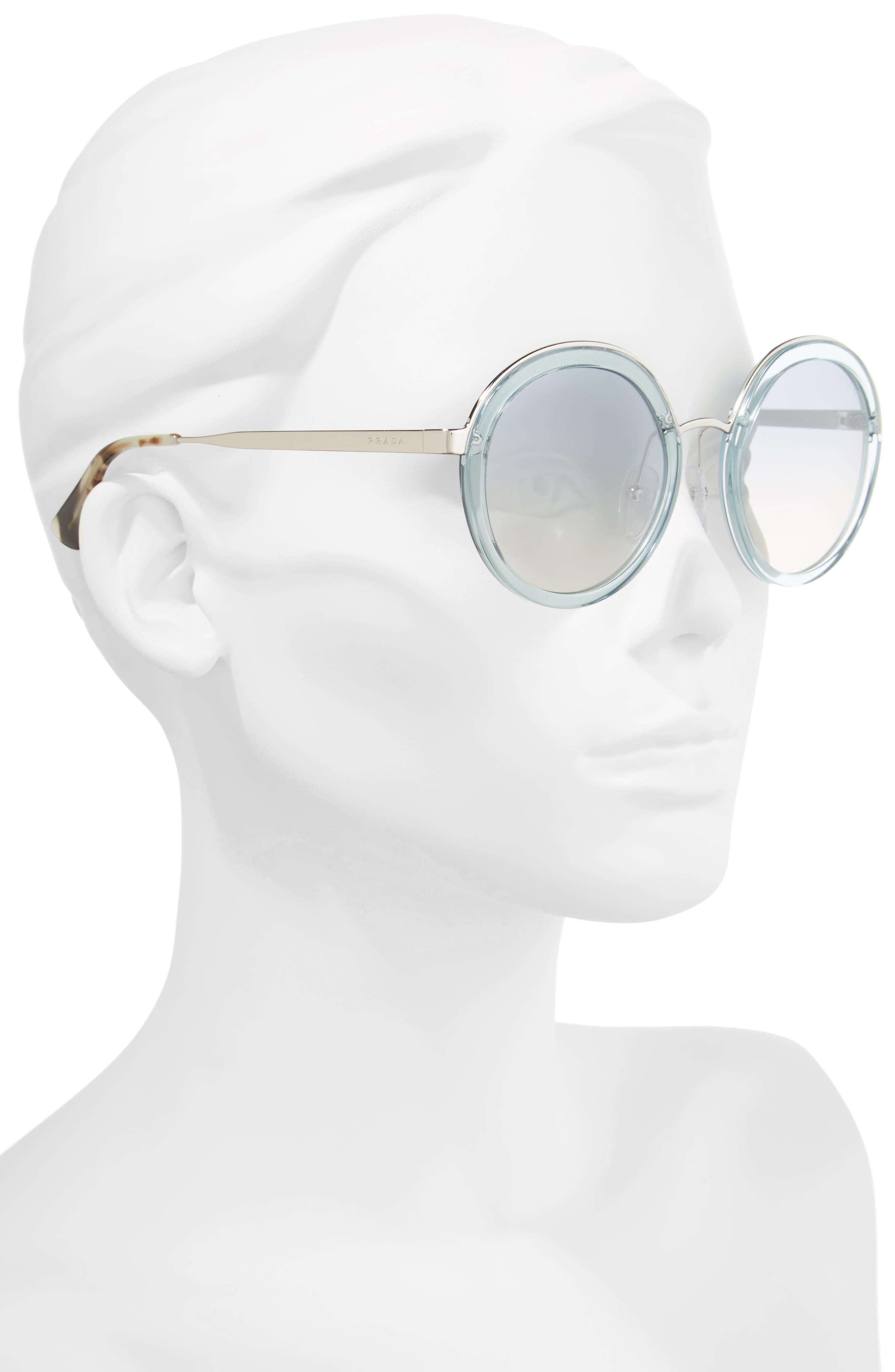 PRADA,                             54mm Round Sunglasses,                             Alternate thumbnail 2, color,                             400