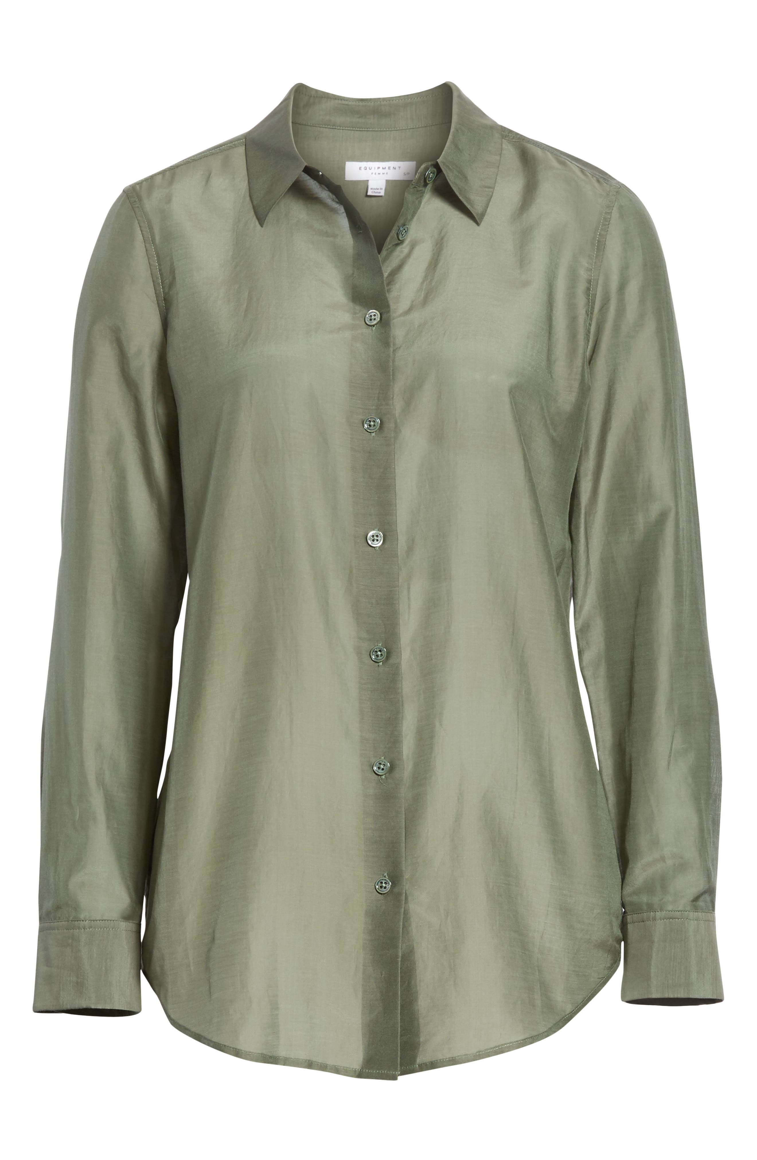 Essential Cotton & Silk Shirt,                             Alternate thumbnail 6, color,