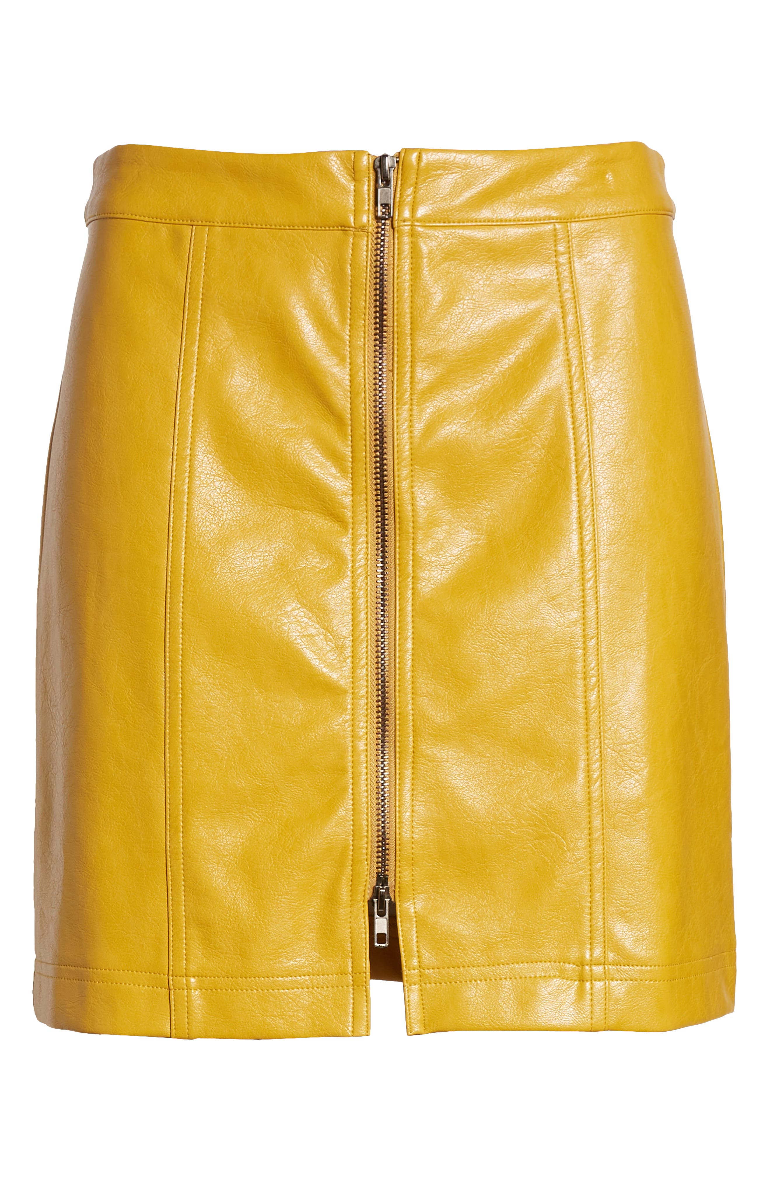 Zip Front Faux Leather Miniskirt,                             Alternate thumbnail 6, color,                             MUSTARD