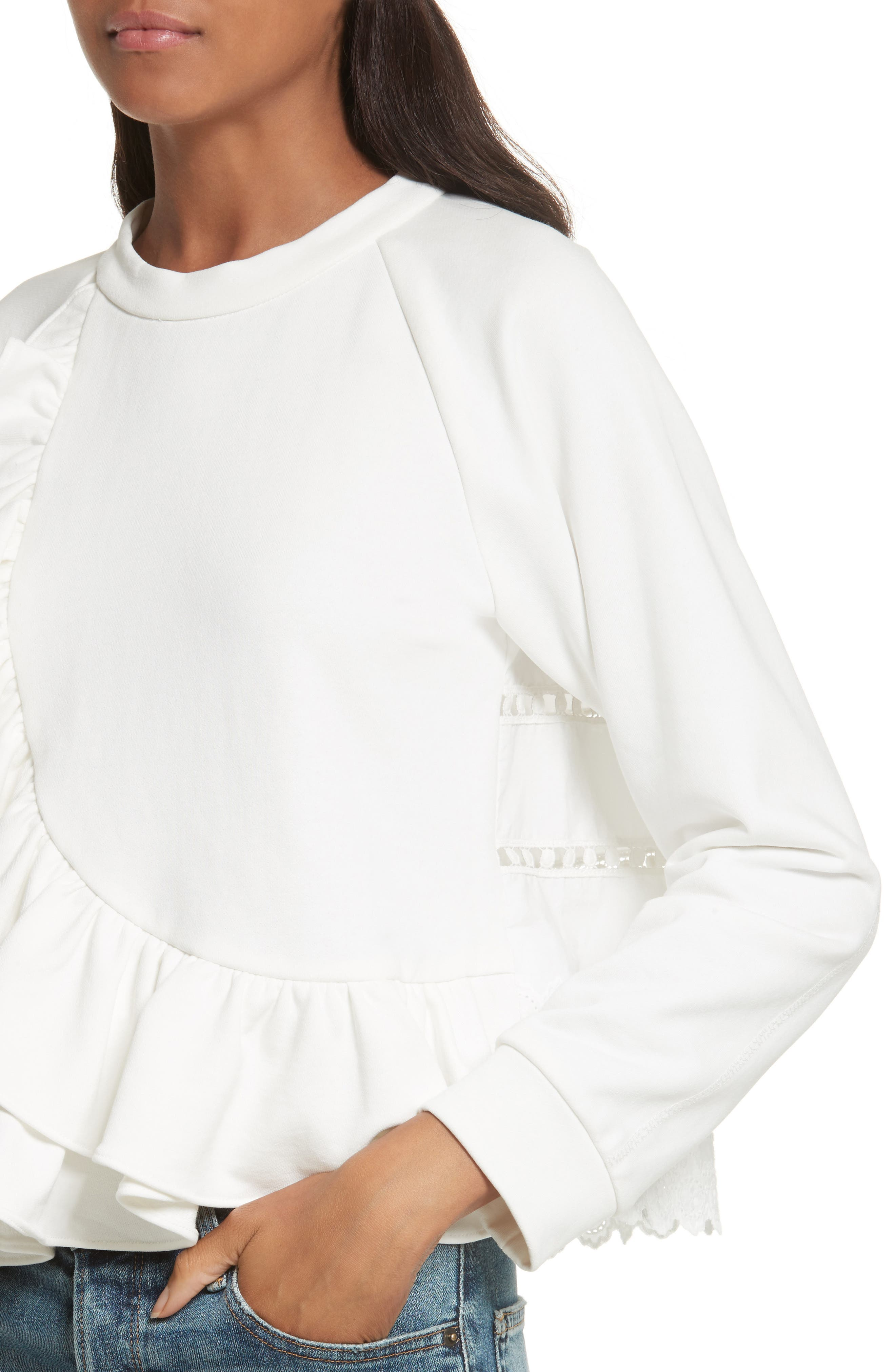 Ruffle Crop Sweatshirt,                             Alternate thumbnail 4, color,                             900