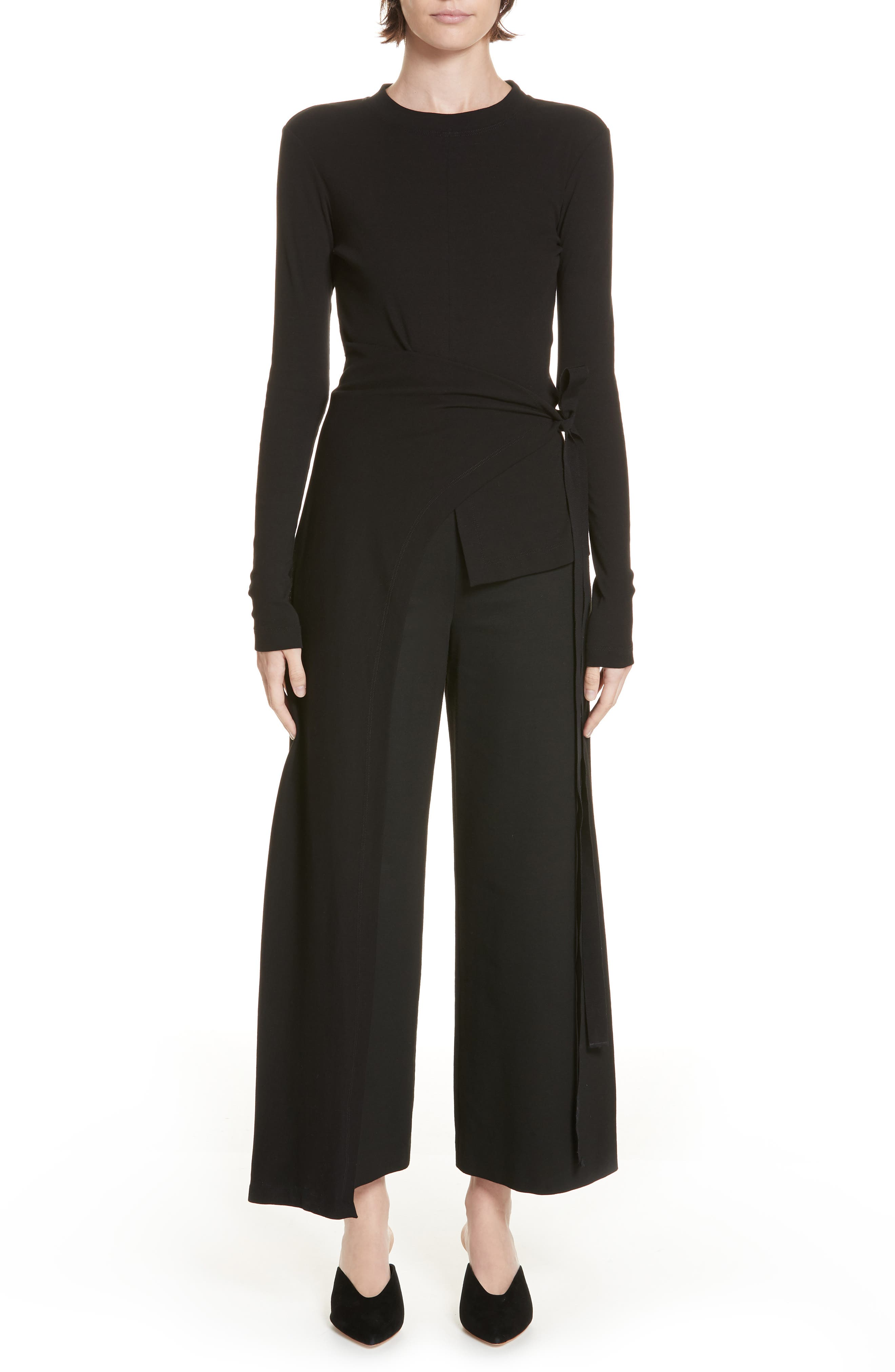 ROSETTA GETTY Crewneck Long-Sleeve Split-Apron Jersey Top in Black