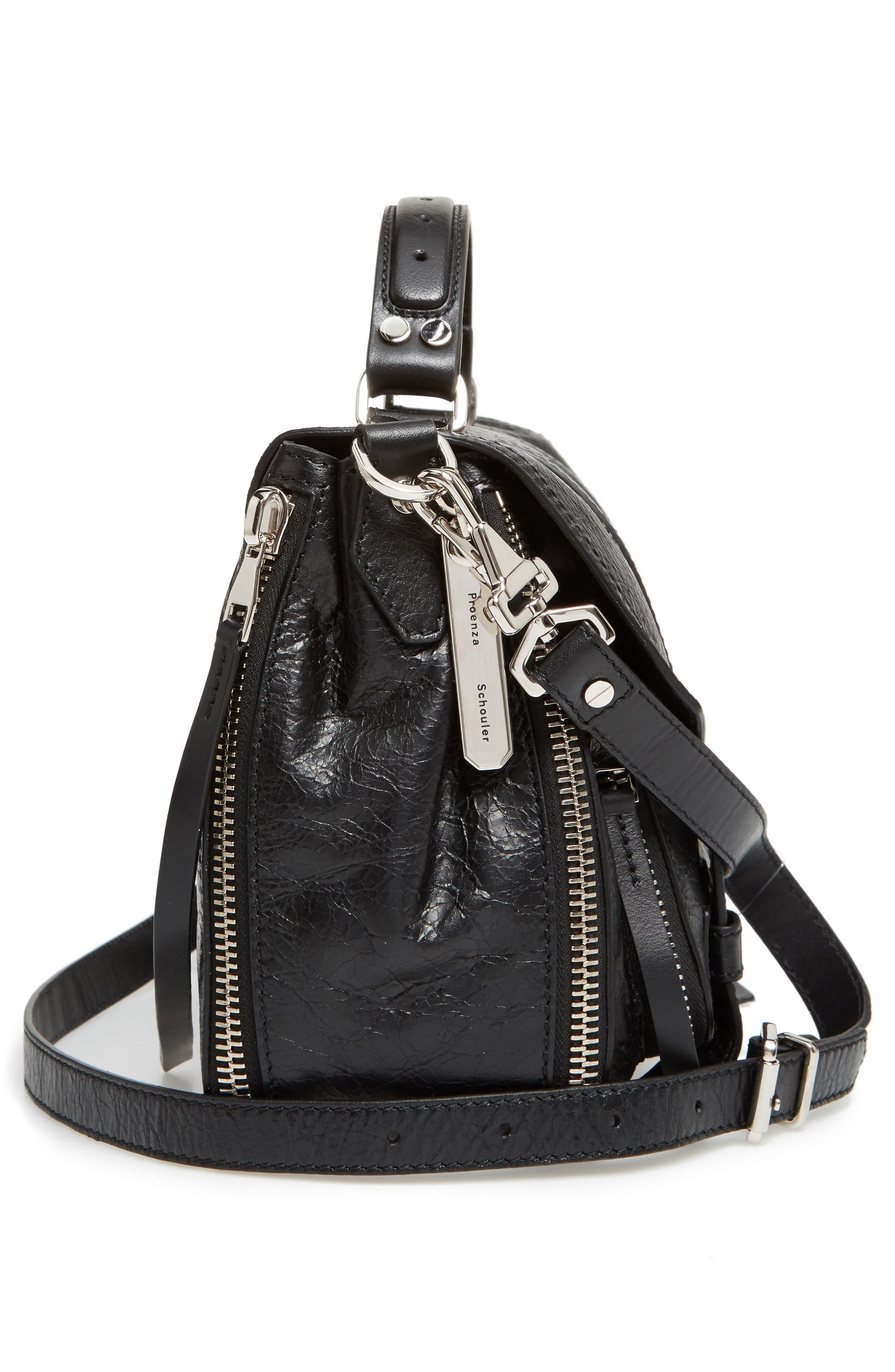 Medium PS1 Paper Leather Satchel,                             Alternate thumbnail 5, color,                             BLACK