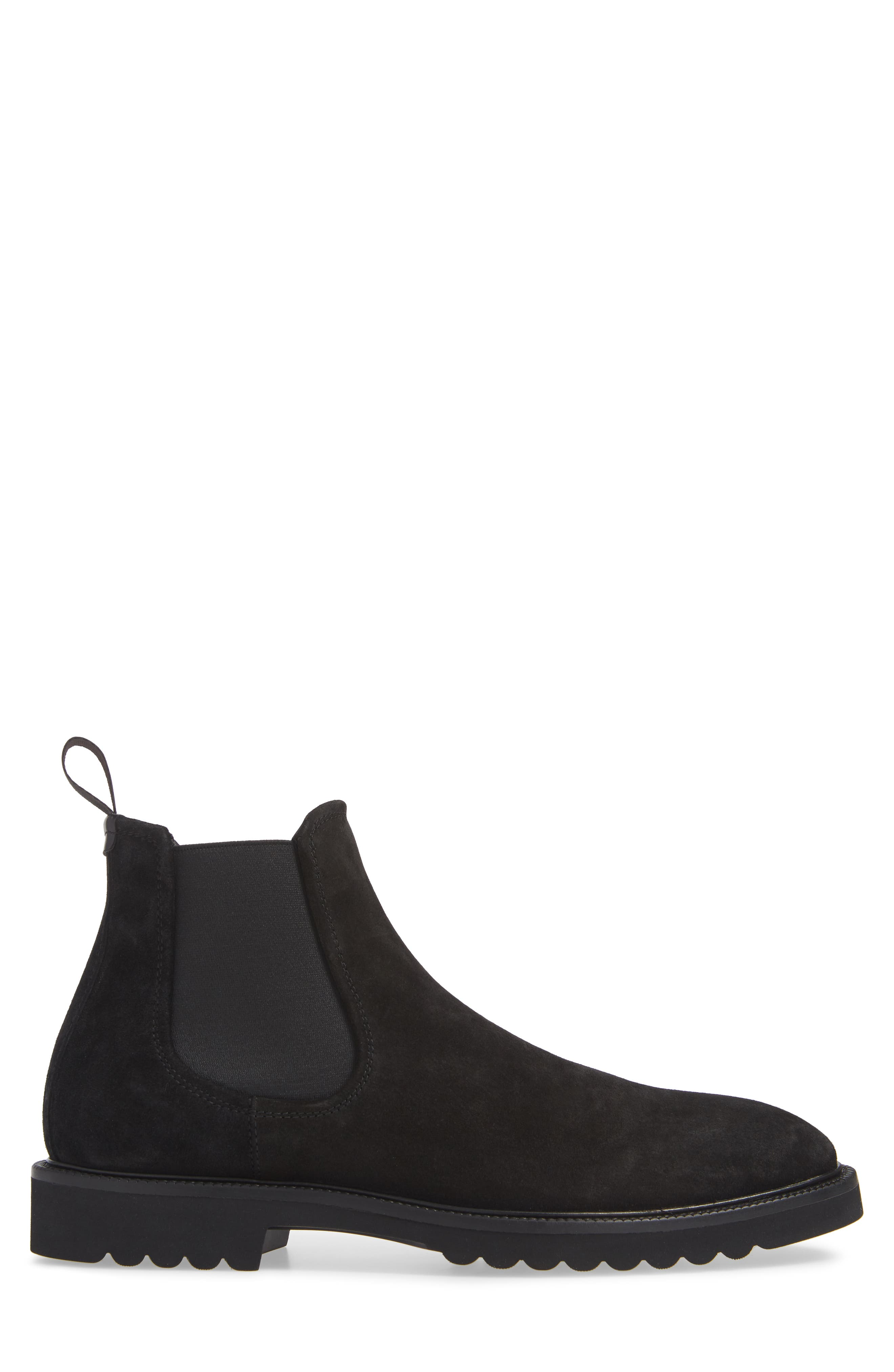 Lugged Chelsea Boot,                             Alternate thumbnail 3, color,                             BLACK LEATHER