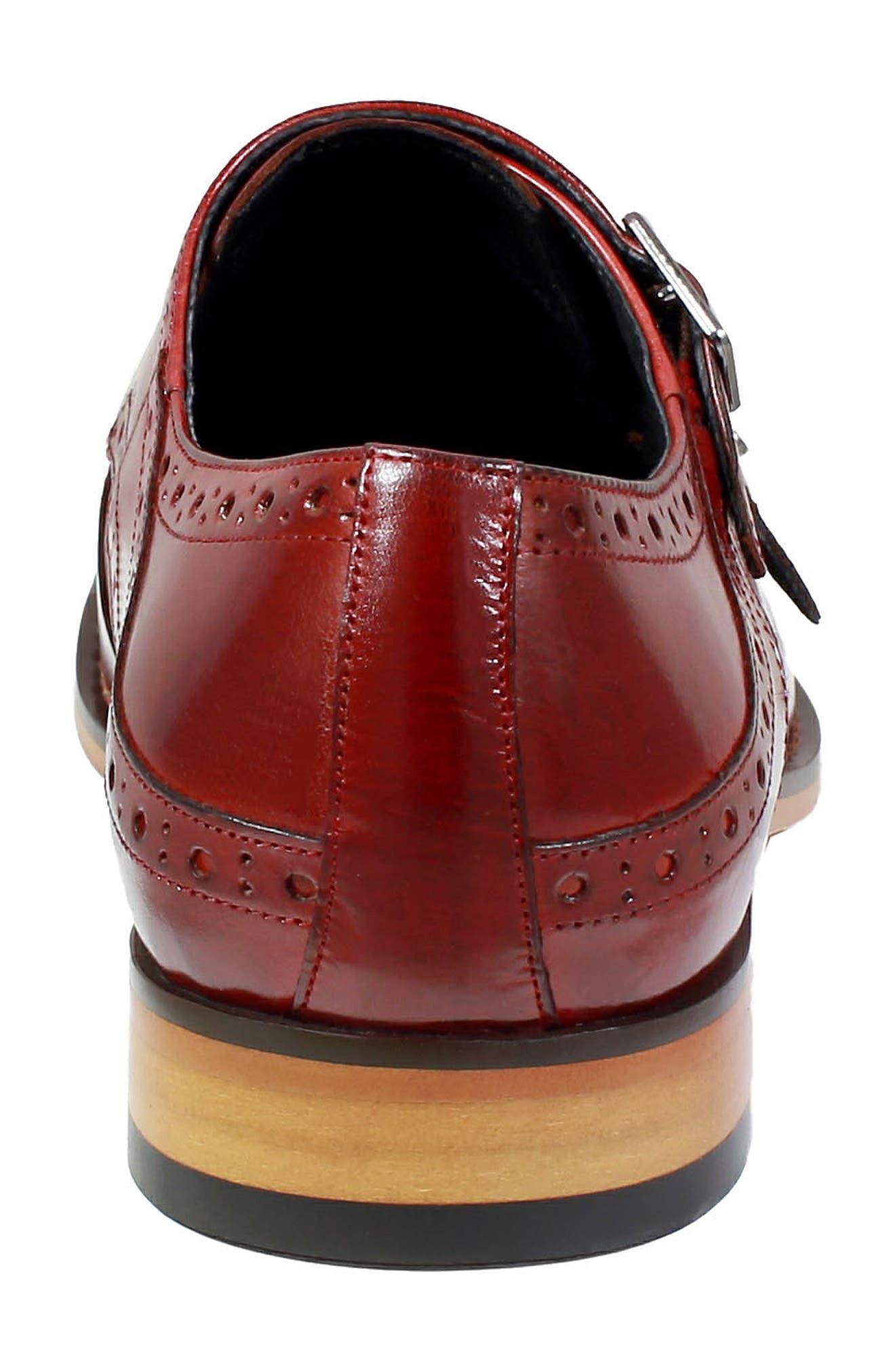 Tayton Cap Toe Double Strap Monk Shoe,                             Alternate thumbnail 7, color,                             RED LEATHER