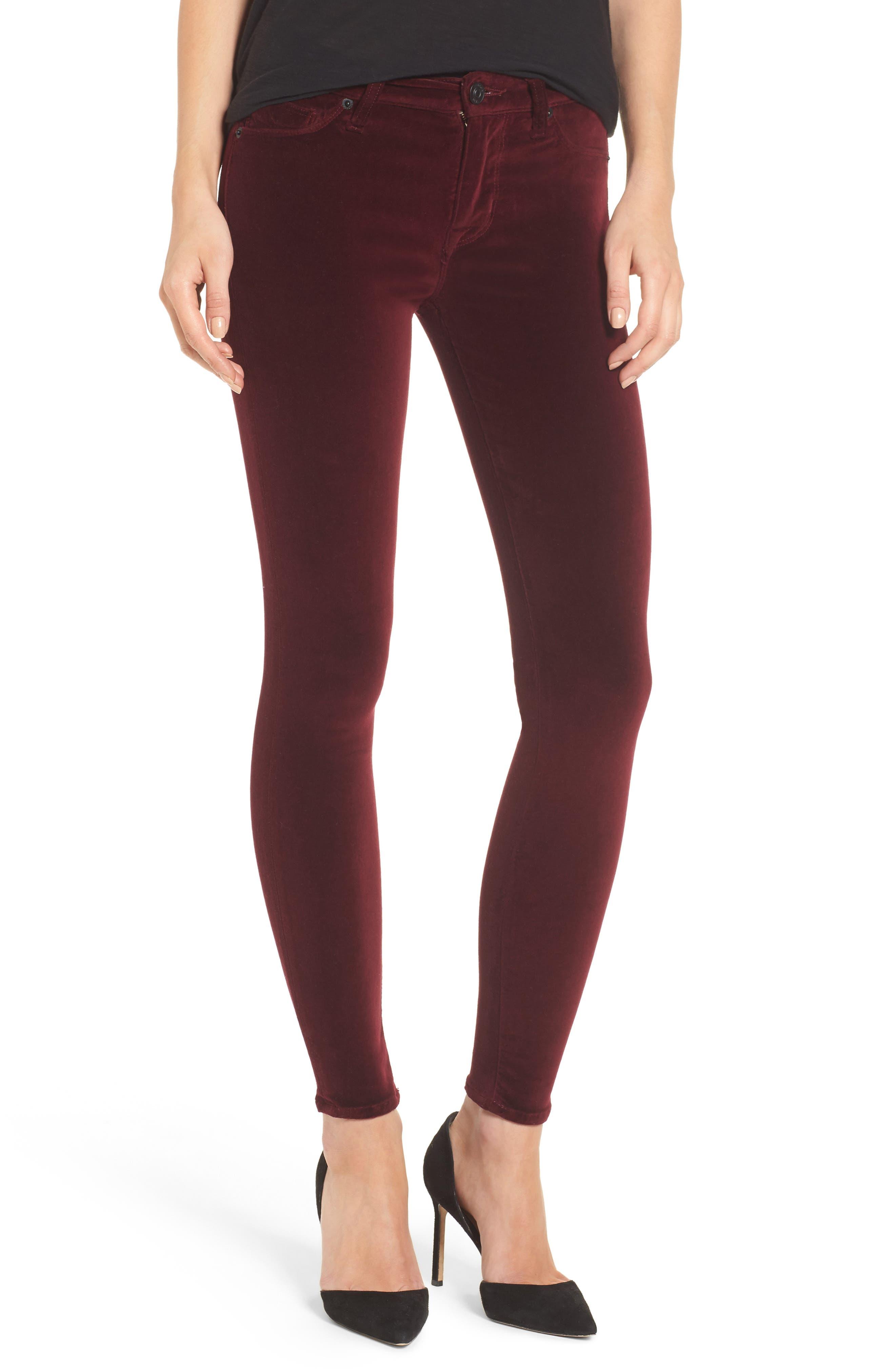 Nico Ankle Skinny Velvet Pants,                             Main thumbnail 2, color,