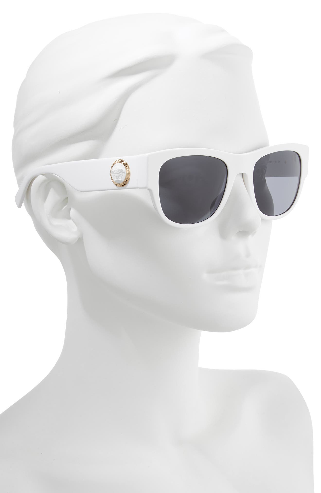 55mm Square Sunglasses,                             Alternate thumbnail 2, color,                             WHITE/ GREY SOLID