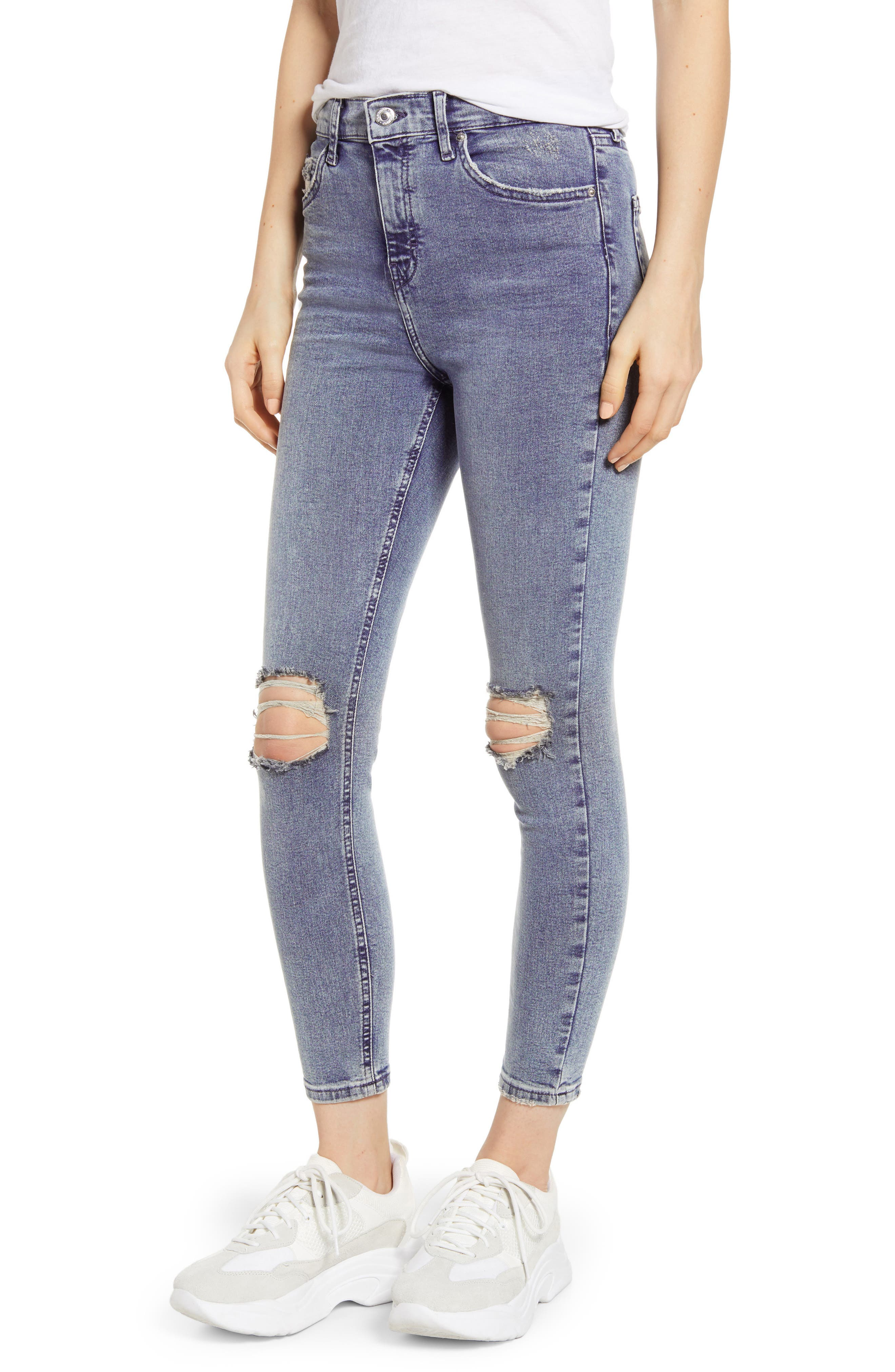 TOPSHOP Jamie Ripped Skinny Jeans, Main, color, GREY