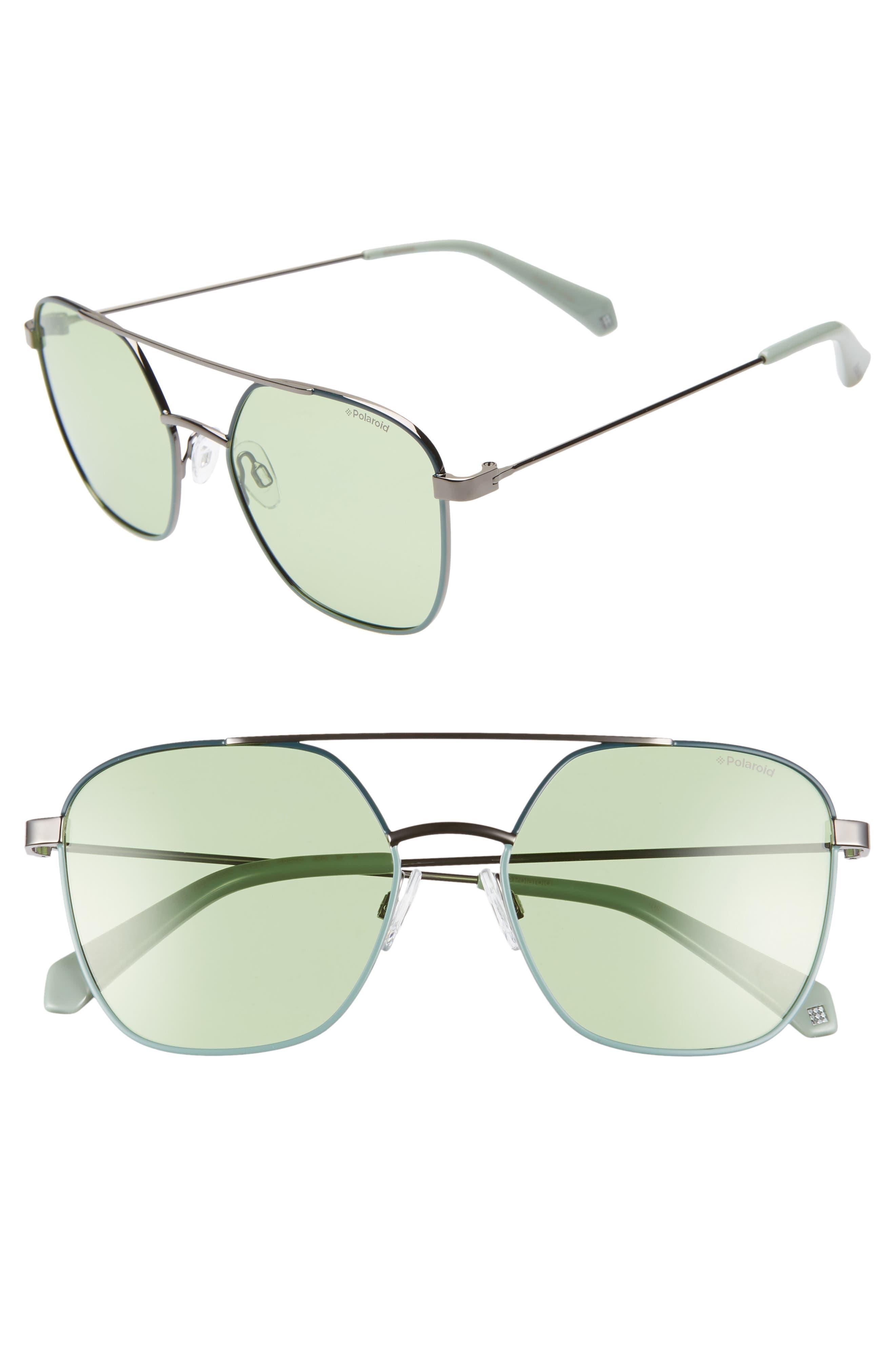 Polaroid 5m Polarized Square Aviator Sunglasses - Green