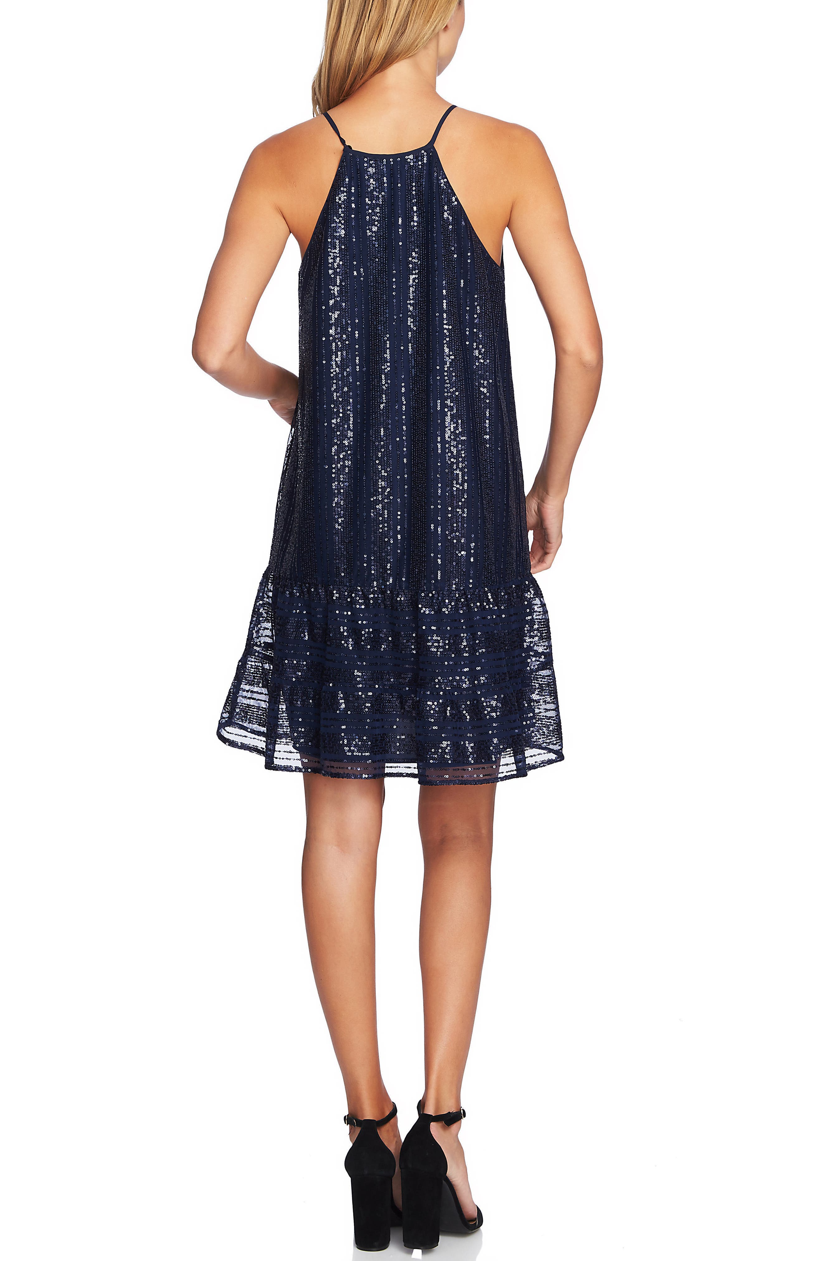 Sequin Ruffle Trim Dress,                             Alternate thumbnail 3, color,                             MIDNIGHT BLOOM