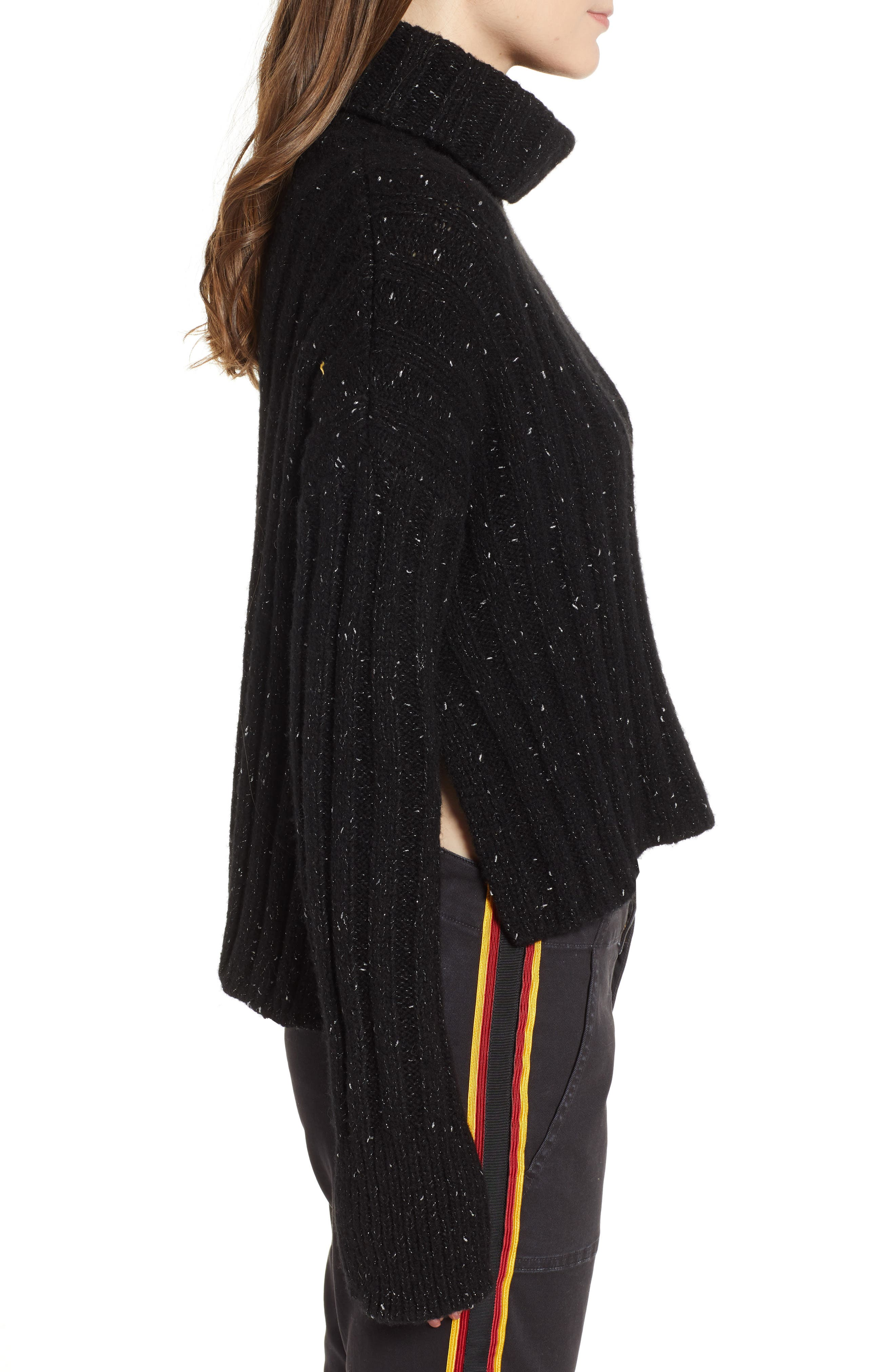 Side Slit Turtleneck Sweater,                             Alternate thumbnail 3, color,                             BLACK MIRROR