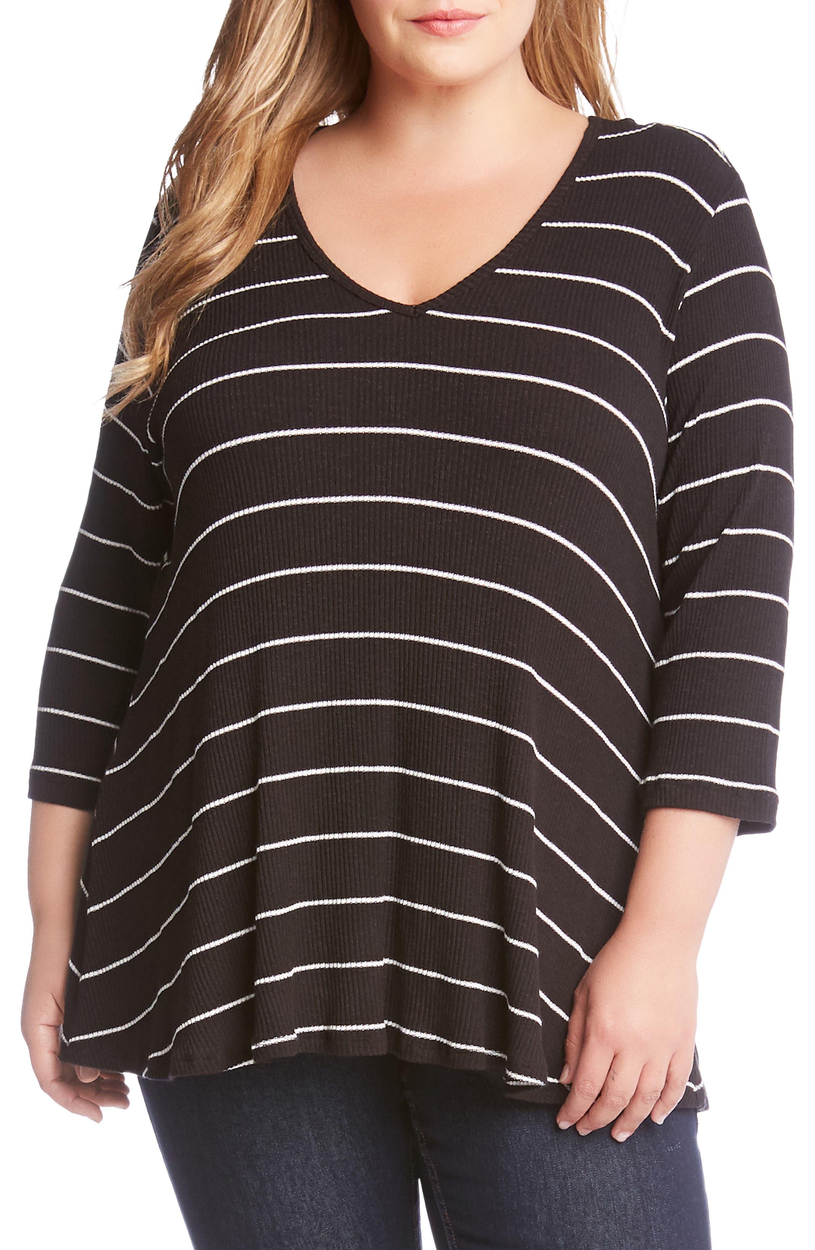 Plus Size Karen Kane Ribbed Stripe Top, Black
