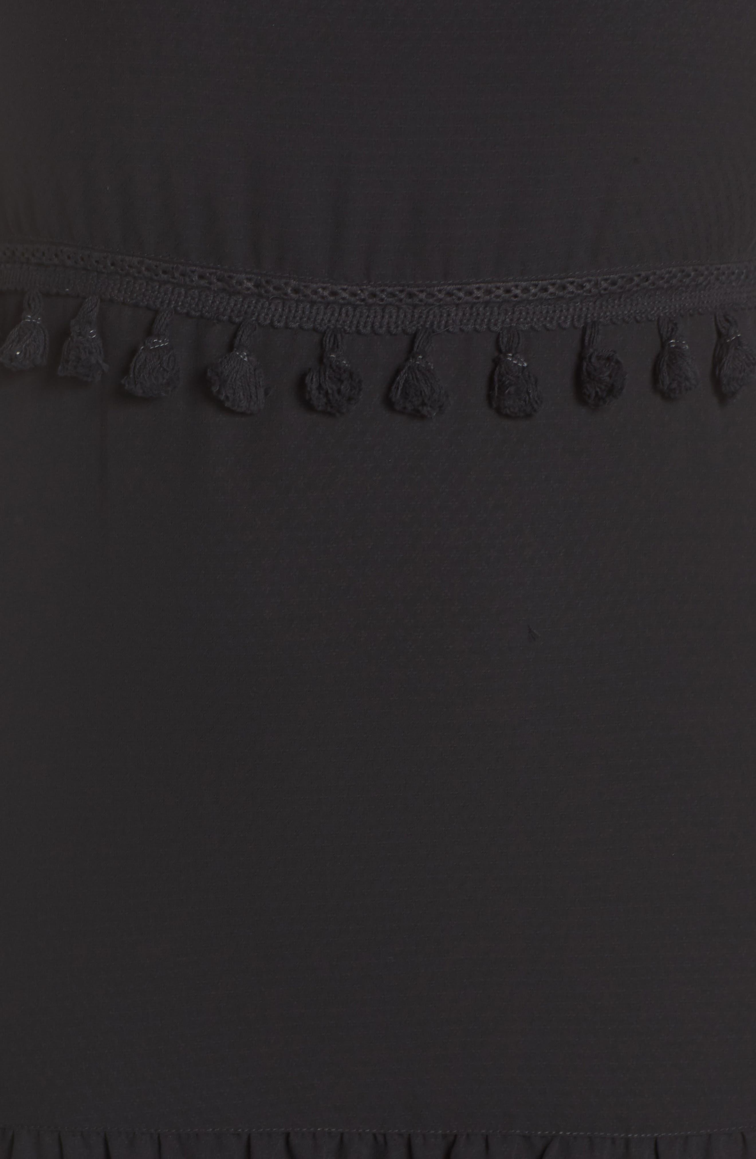 Tassel Trim Sheer Hem Dress,                             Alternate thumbnail 5, color,                             001