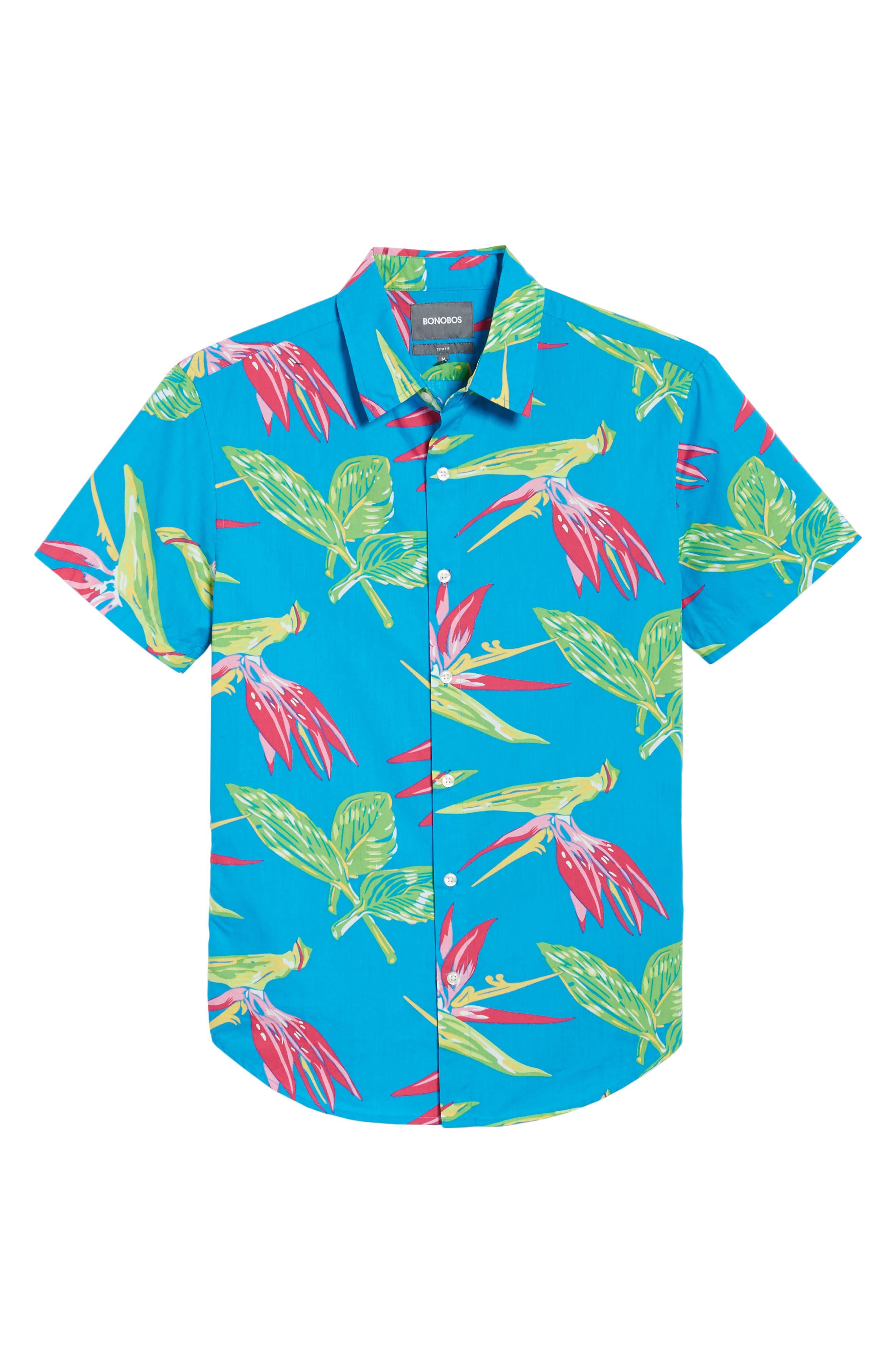 Slim Fit Print Short Sleeve Sport Shirt,                             Alternate thumbnail 6, color,                             400