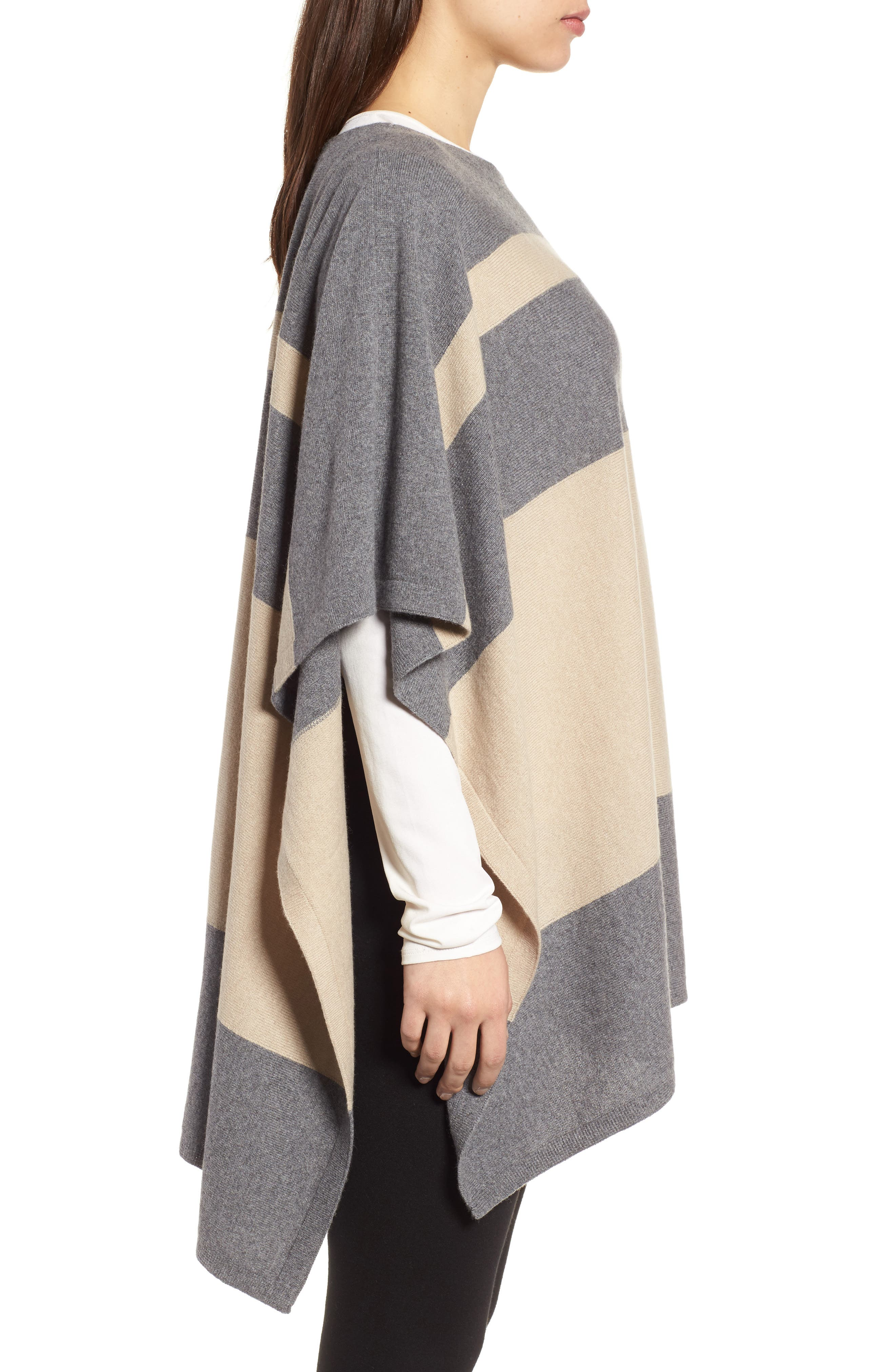 Colorblock Cashmere Blend Poncho,                             Alternate thumbnail 3, color,                             030