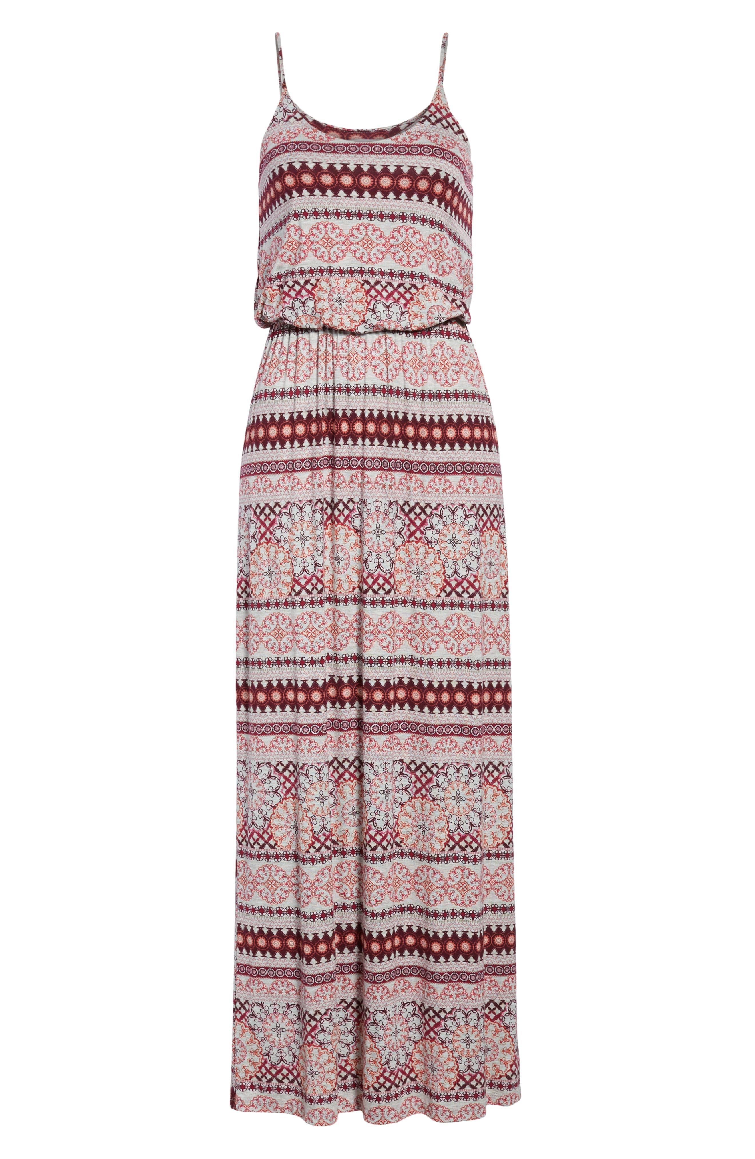 Knit Maxi Dress,                             Alternate thumbnail 7, color,                             HEATHERGREY/ CORAL