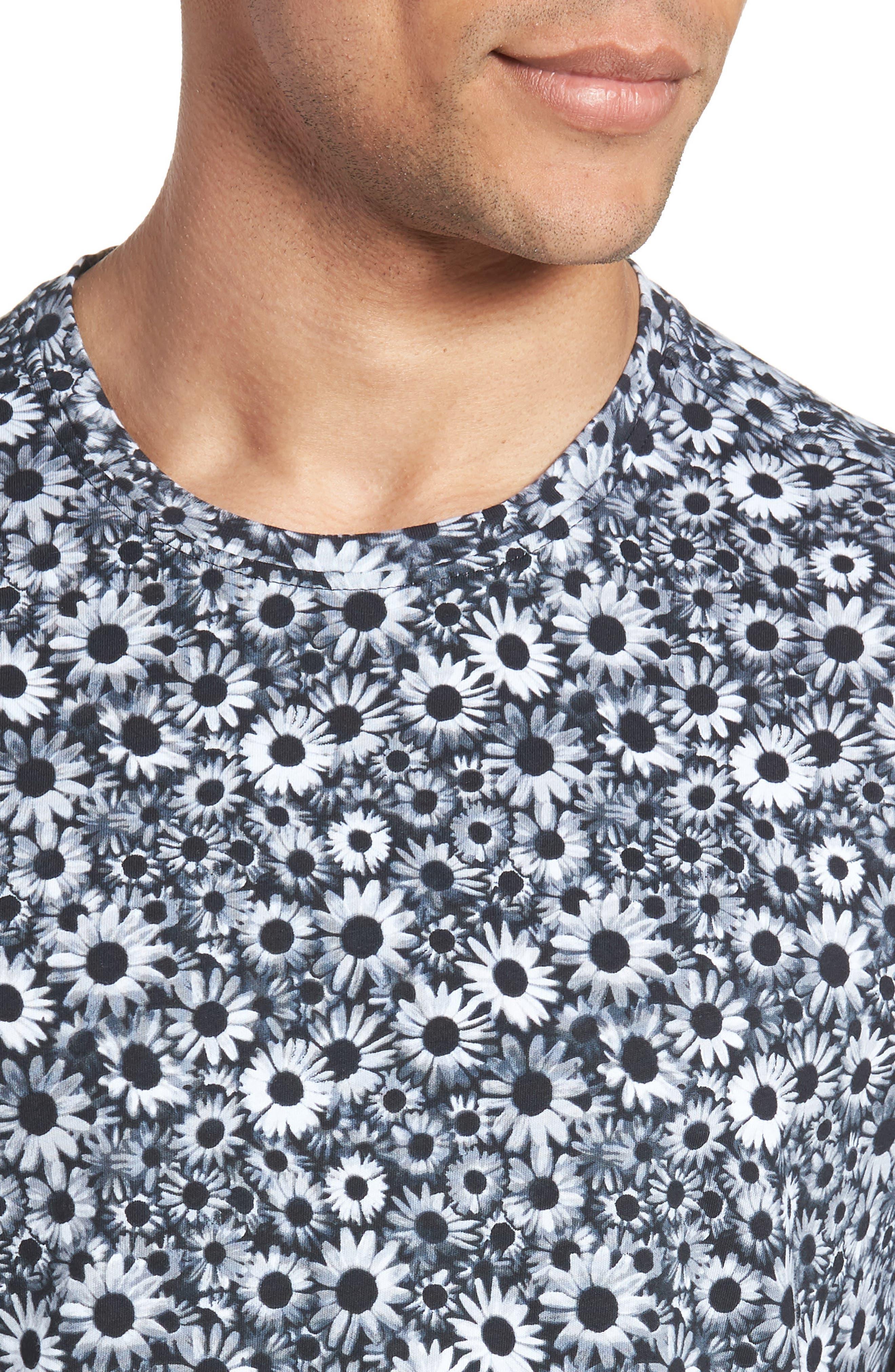 Print T-Shirt,                             Alternate thumbnail 4, color,                             BLACK WHITE DAISY FLORAL