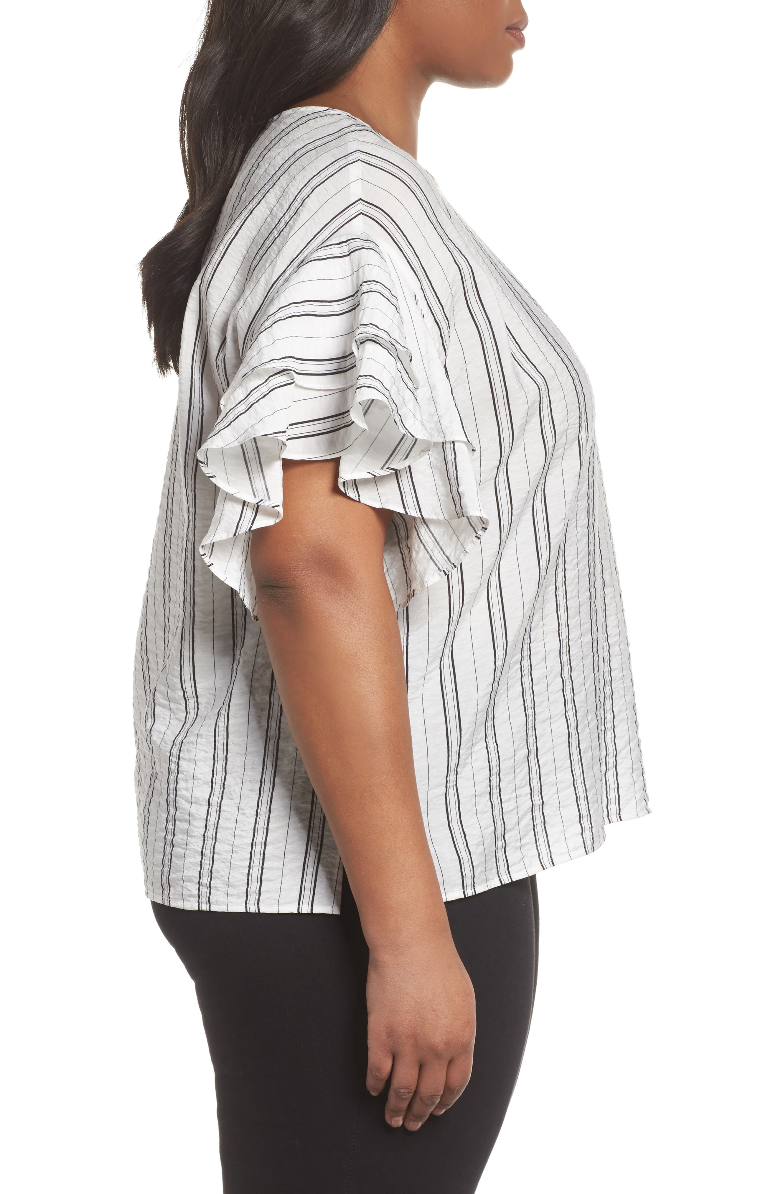 Tiered Ruffle Sleeve Stripe Blouse,                             Alternate thumbnail 3, color,                             903