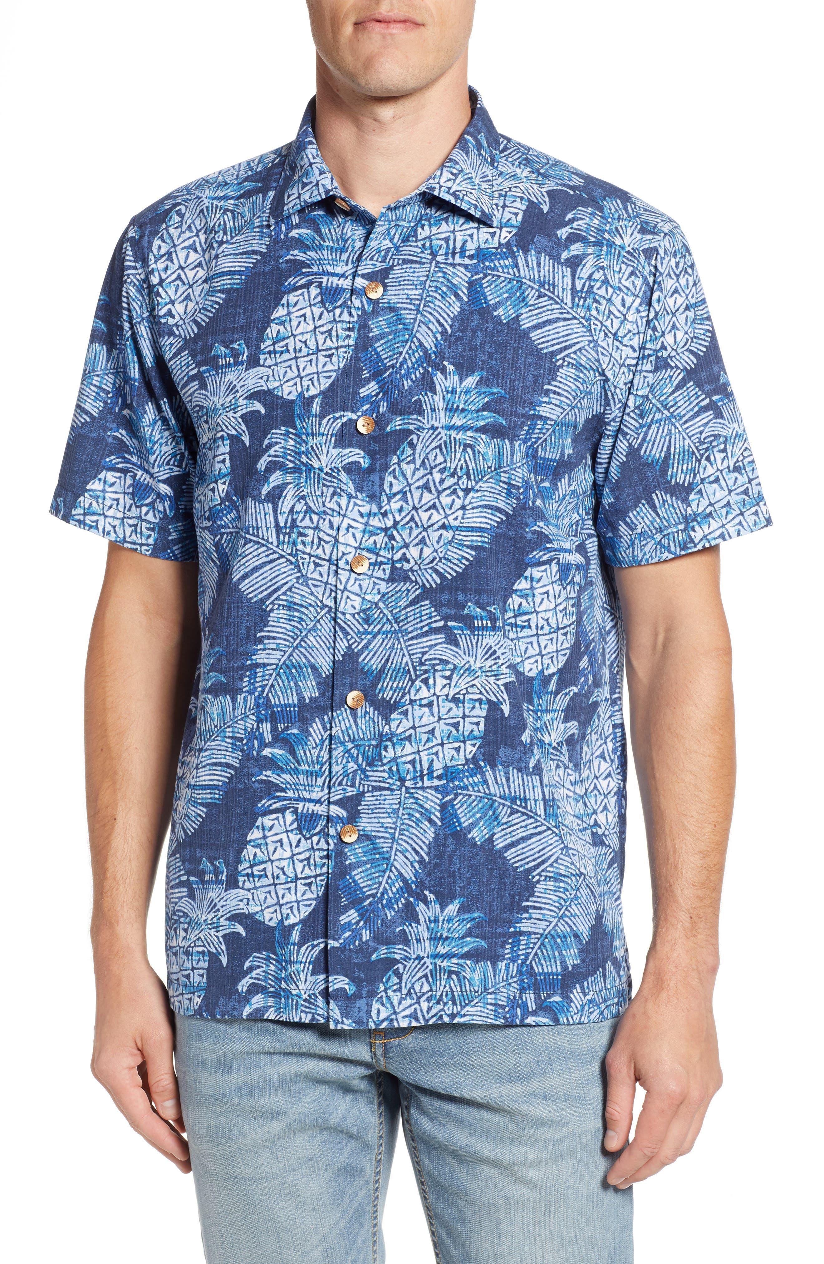 Coastal Colada Silk Blend Camp Shirt,                         Main,                         color, ZEPHYR BLUE