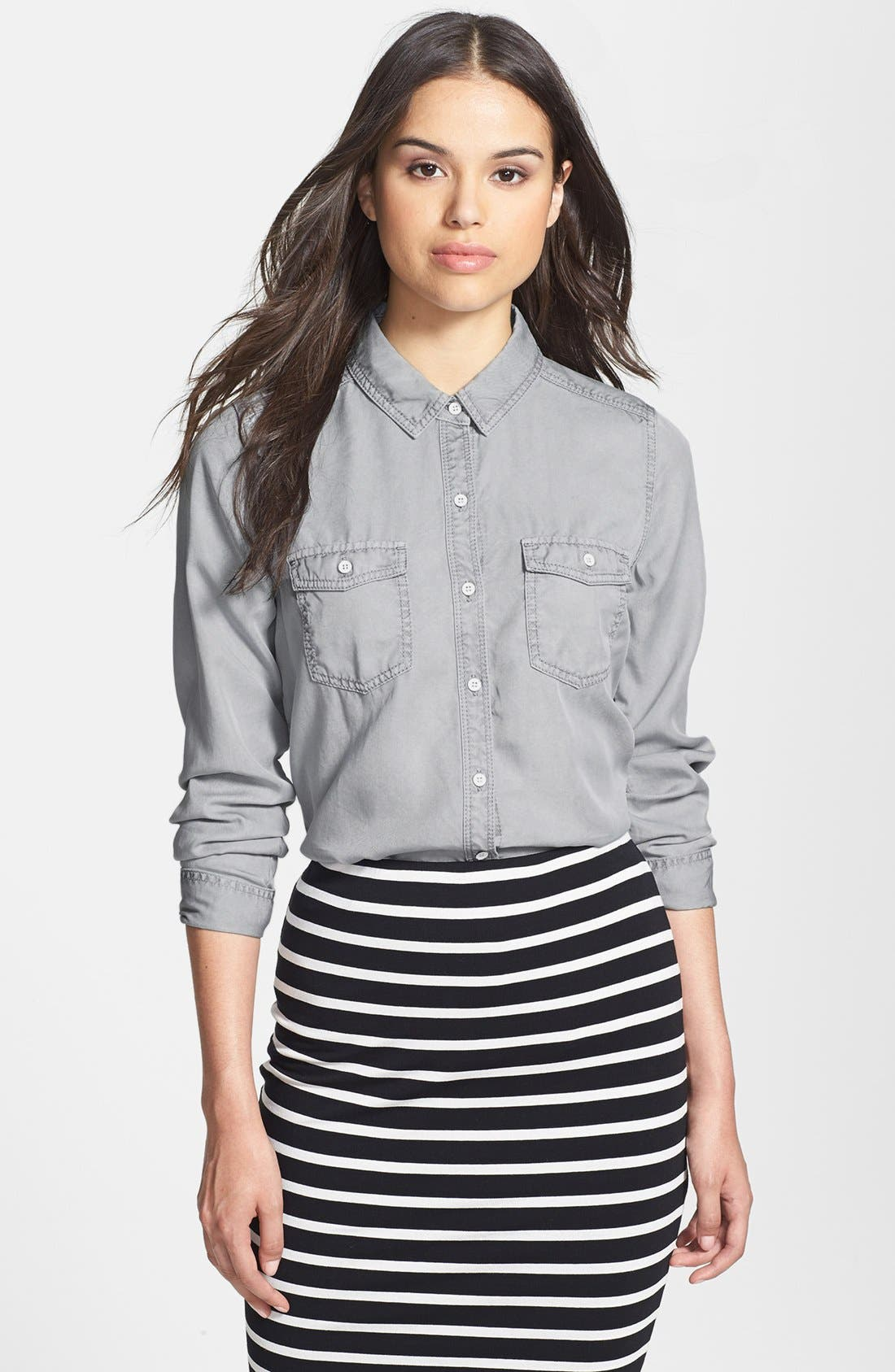 Long Sleeve Chambray Shirt,                         Main,                         color, 020