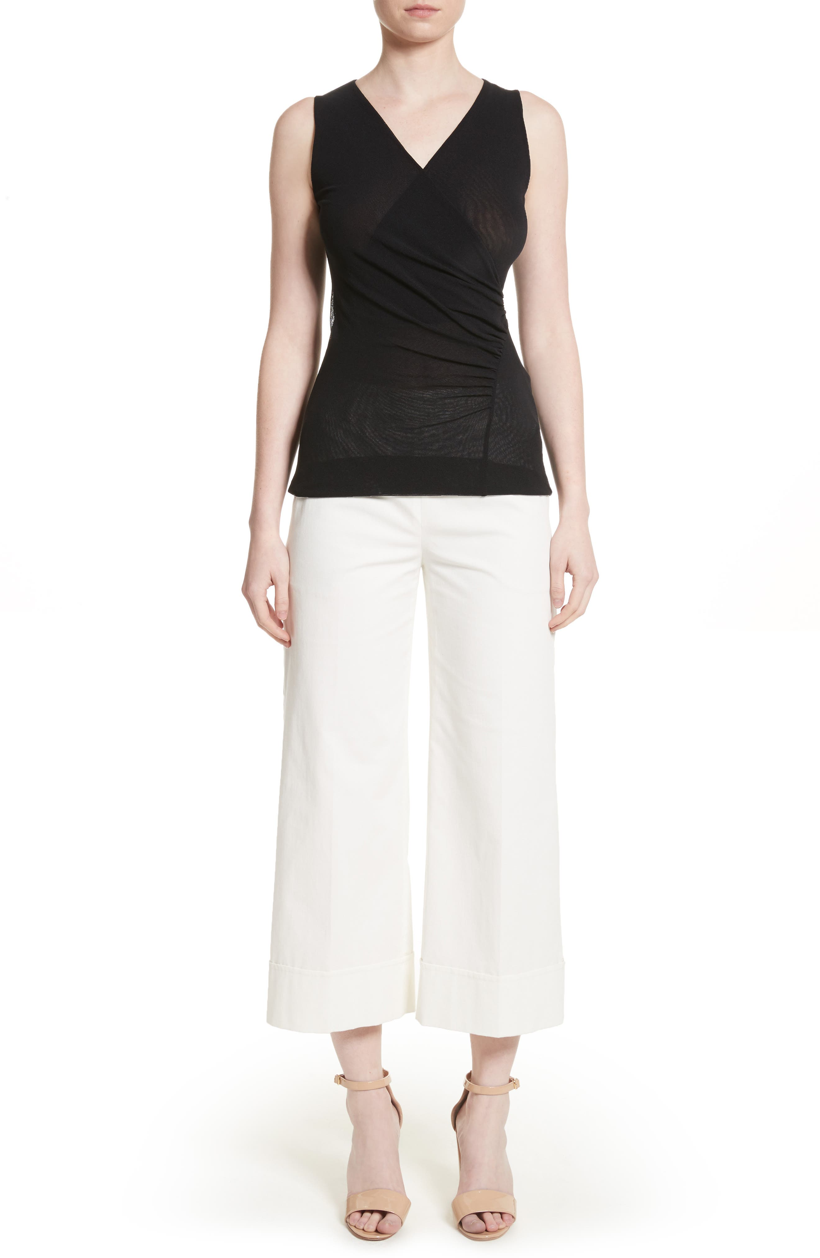 Ruched Tulle Tank,                             Alternate thumbnail 7, color,                             001