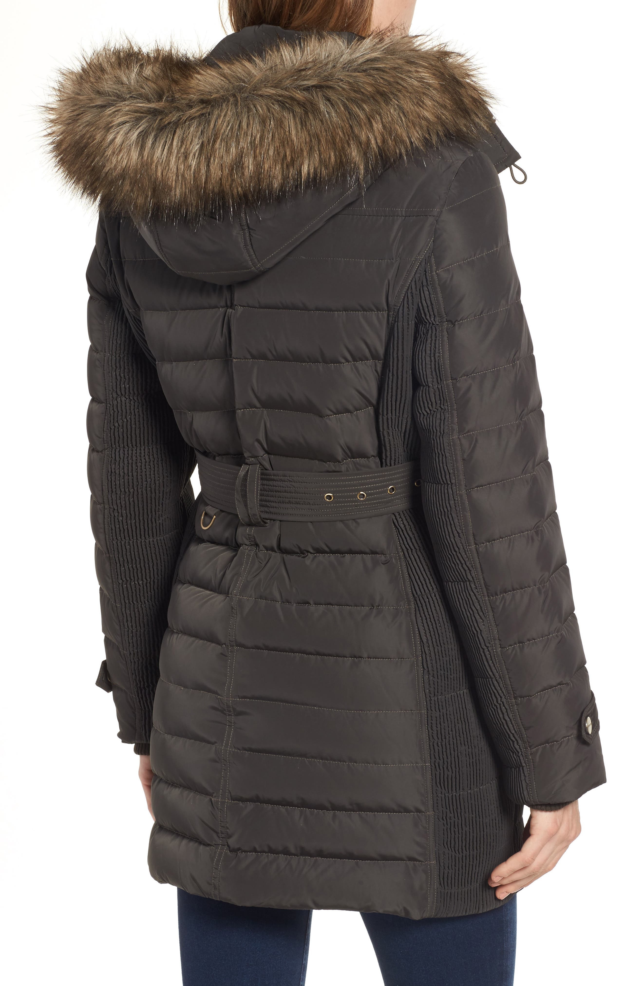 Belted Down Coat with Faux Fur Trim,                             Alternate thumbnail 4, color,
