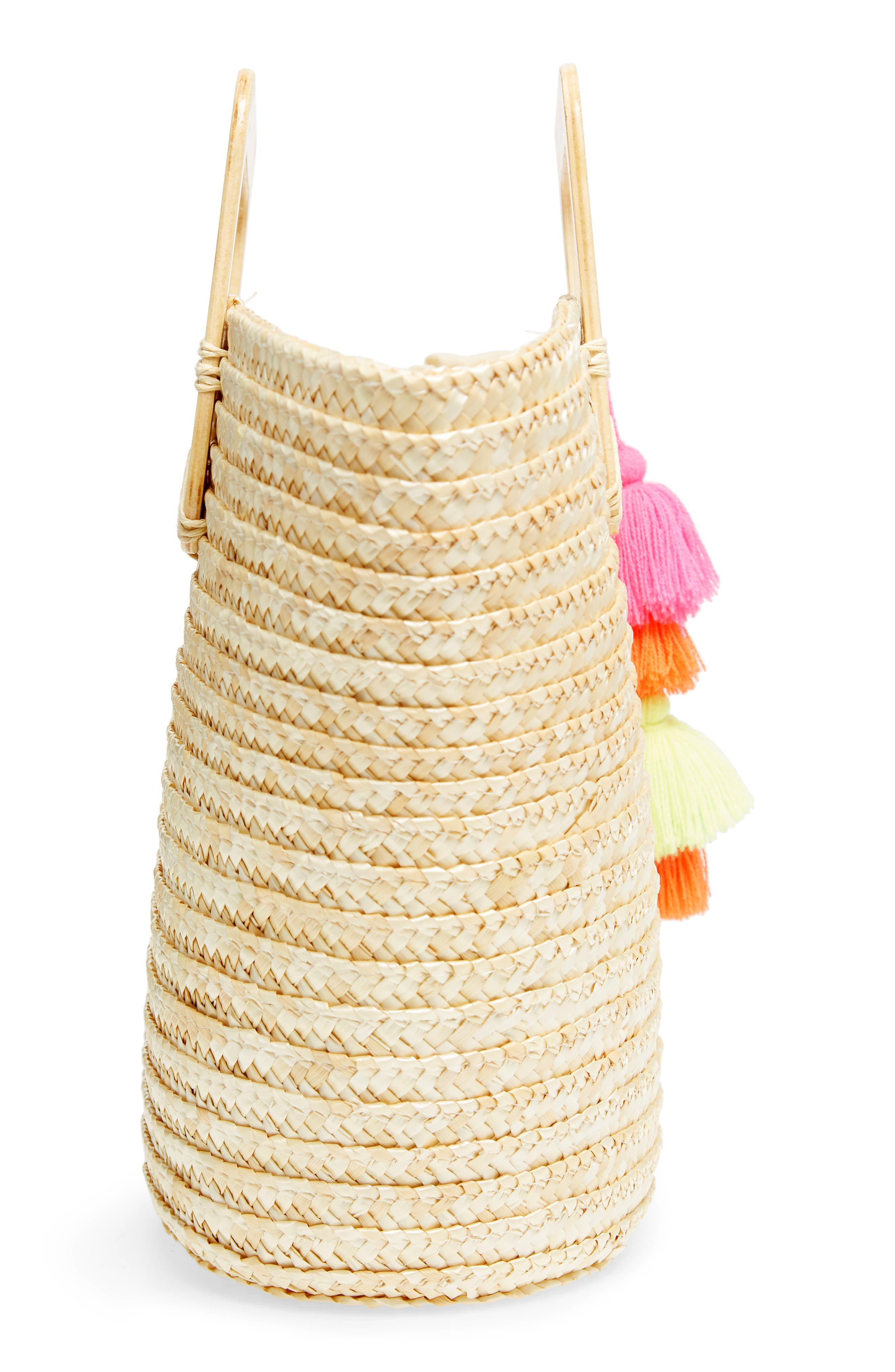 Straw Ring Handle Basket Tote,                             Alternate thumbnail 5, color,                             250