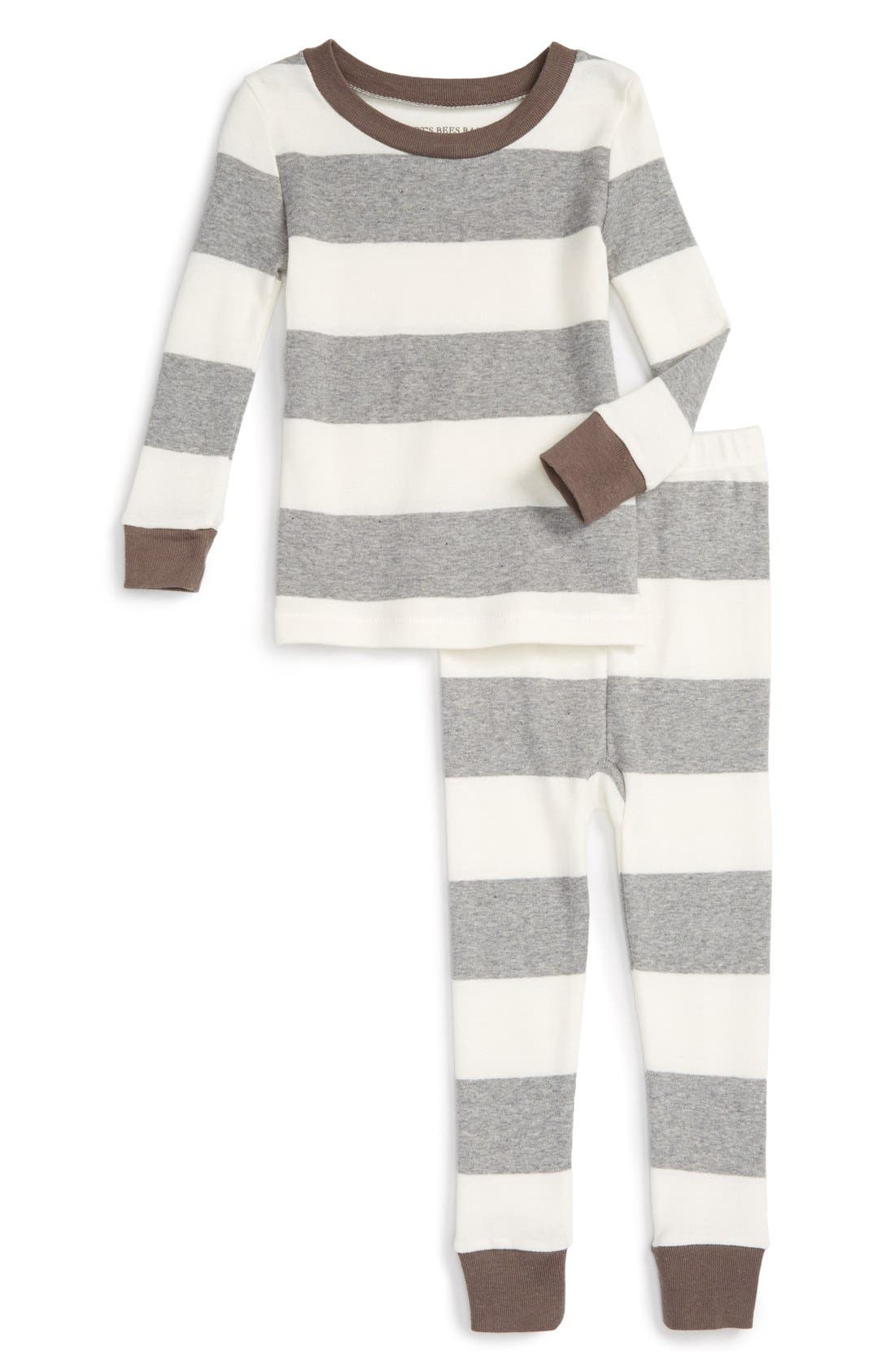 Rugby Stripe Organic Cotton Fitted Two-Piece Pajamas,                             Main thumbnail 1, color,                             050