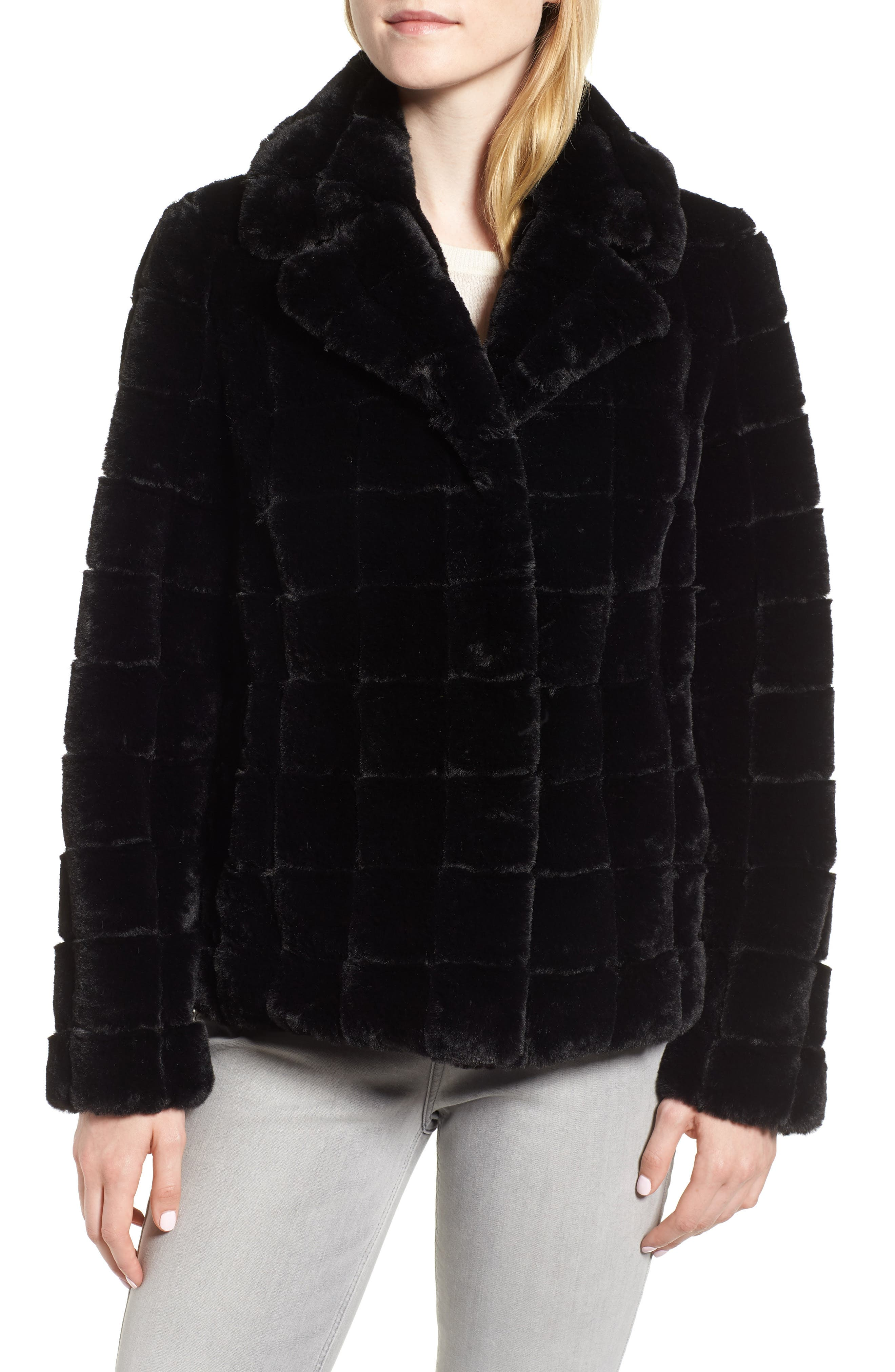 Quilted Faux Fur Jacket,                             Alternate thumbnail 4, color,                             001