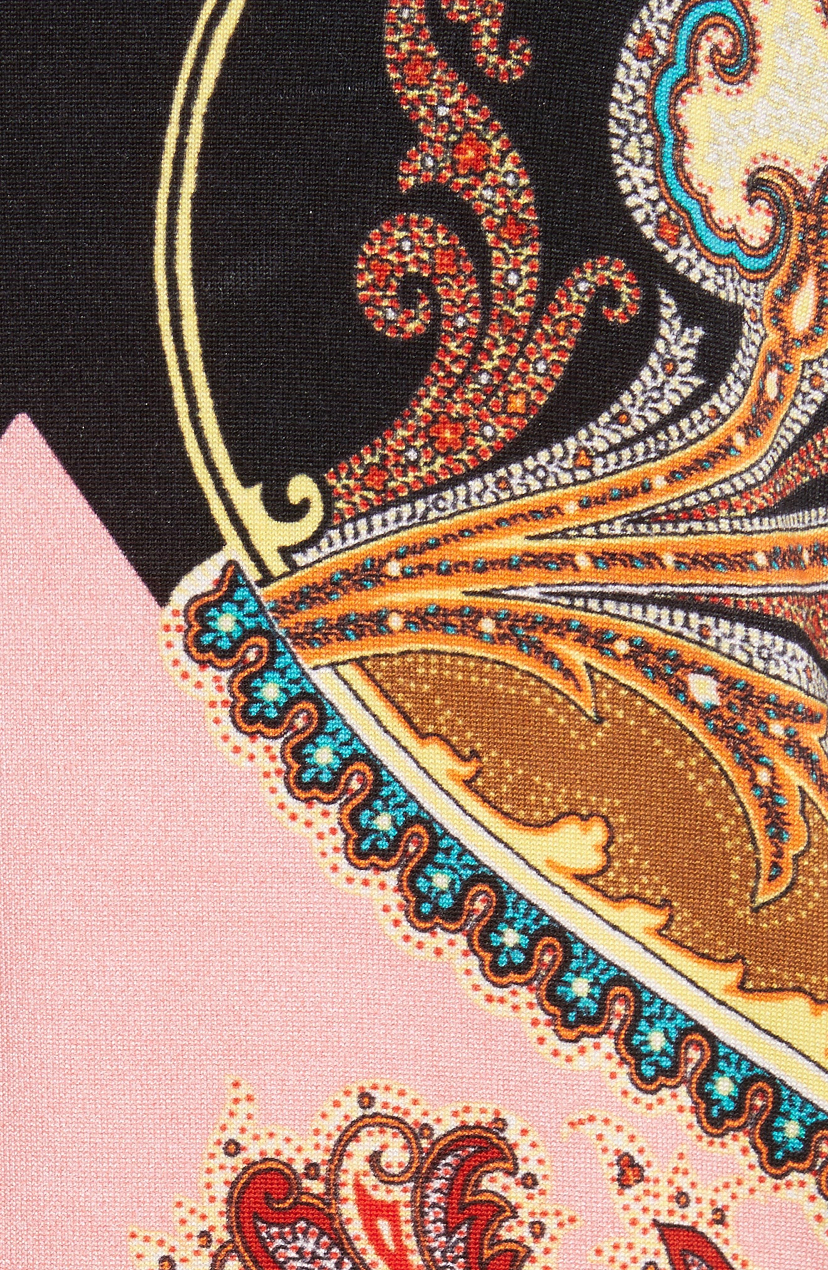 Leopard Paisley Stretch Silk Cardigan,                             Alternate thumbnail 5, color,                             001