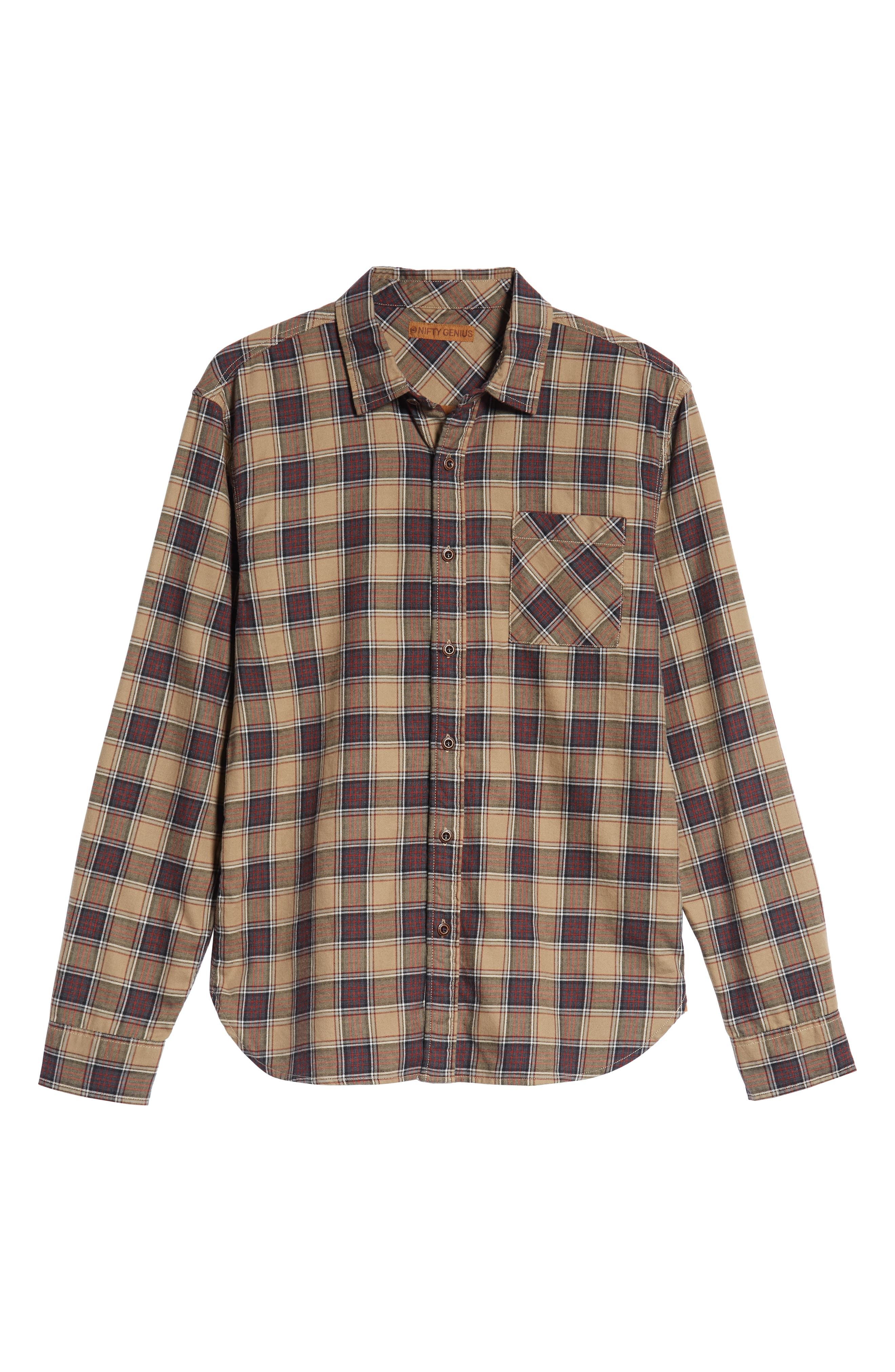 Truman Check Sport Shirt,                             Alternate thumbnail 5, color,                             GREY/ GOLD/ RED