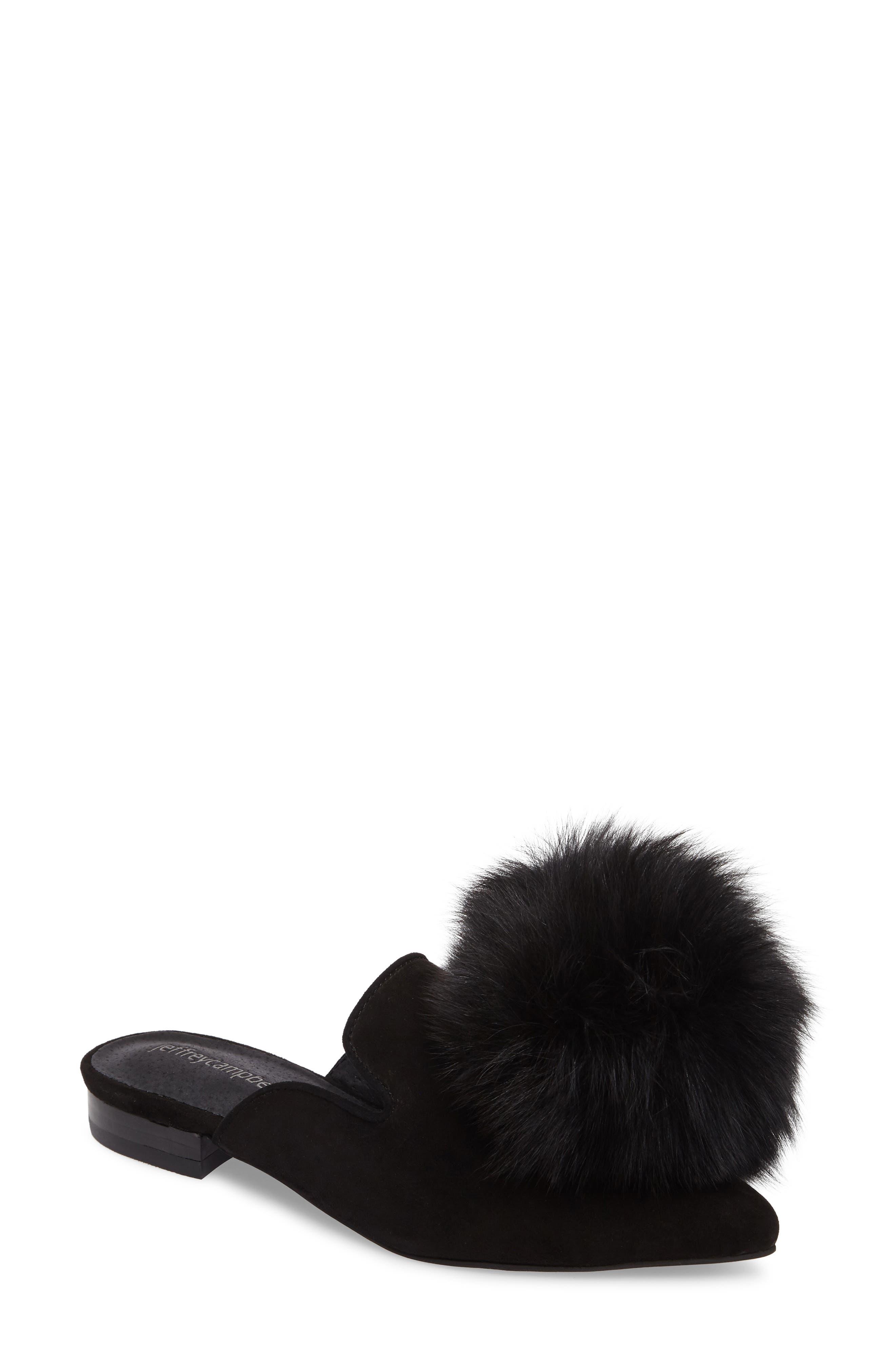 Claes Genuine Fur Pompom Mule,                             Main thumbnail 1, color,                             007