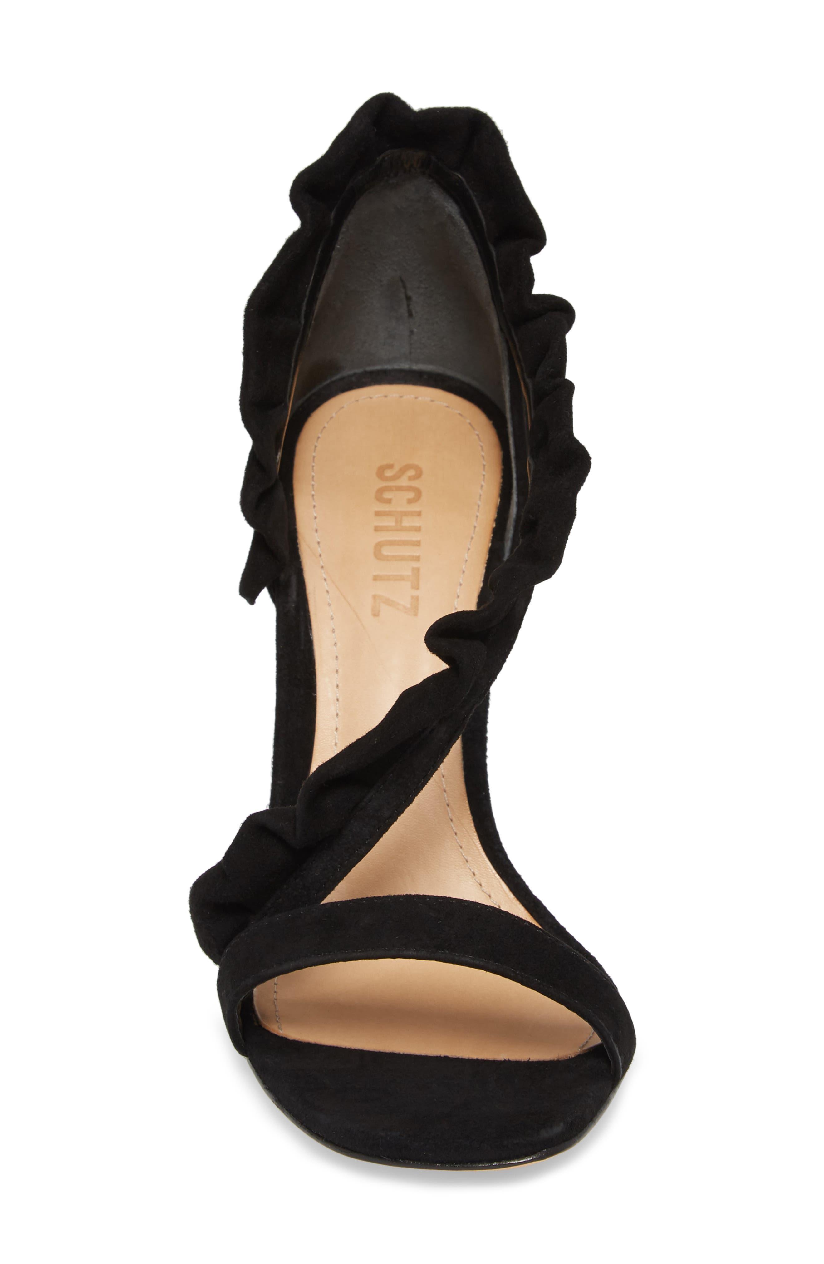 Aim Ruffle Sandal,                             Alternate thumbnail 4, color,                             BLACK SUEDE