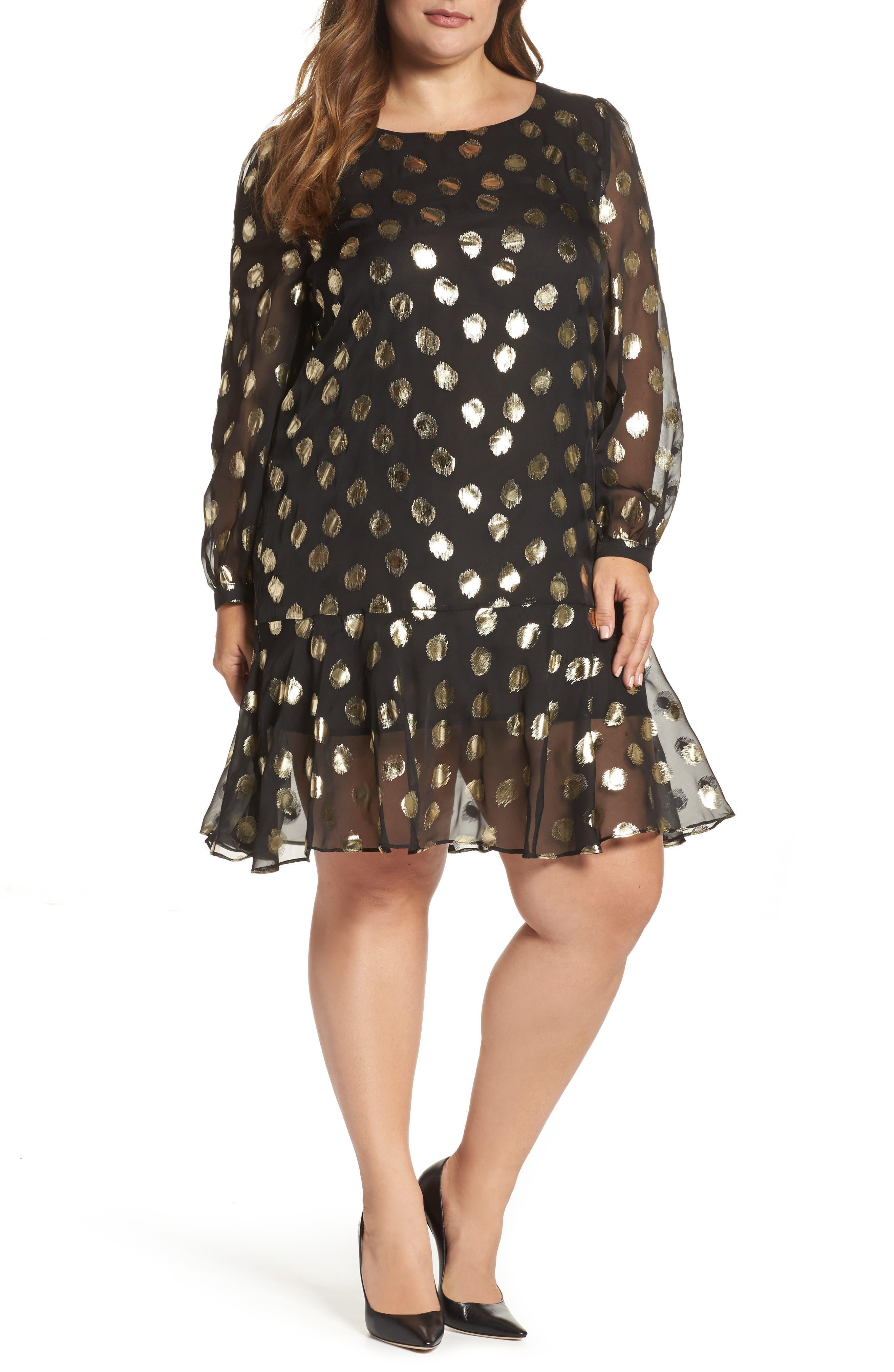 Metallic Dot Drop Waist Dress,                             Alternate thumbnail 5, color,                             010