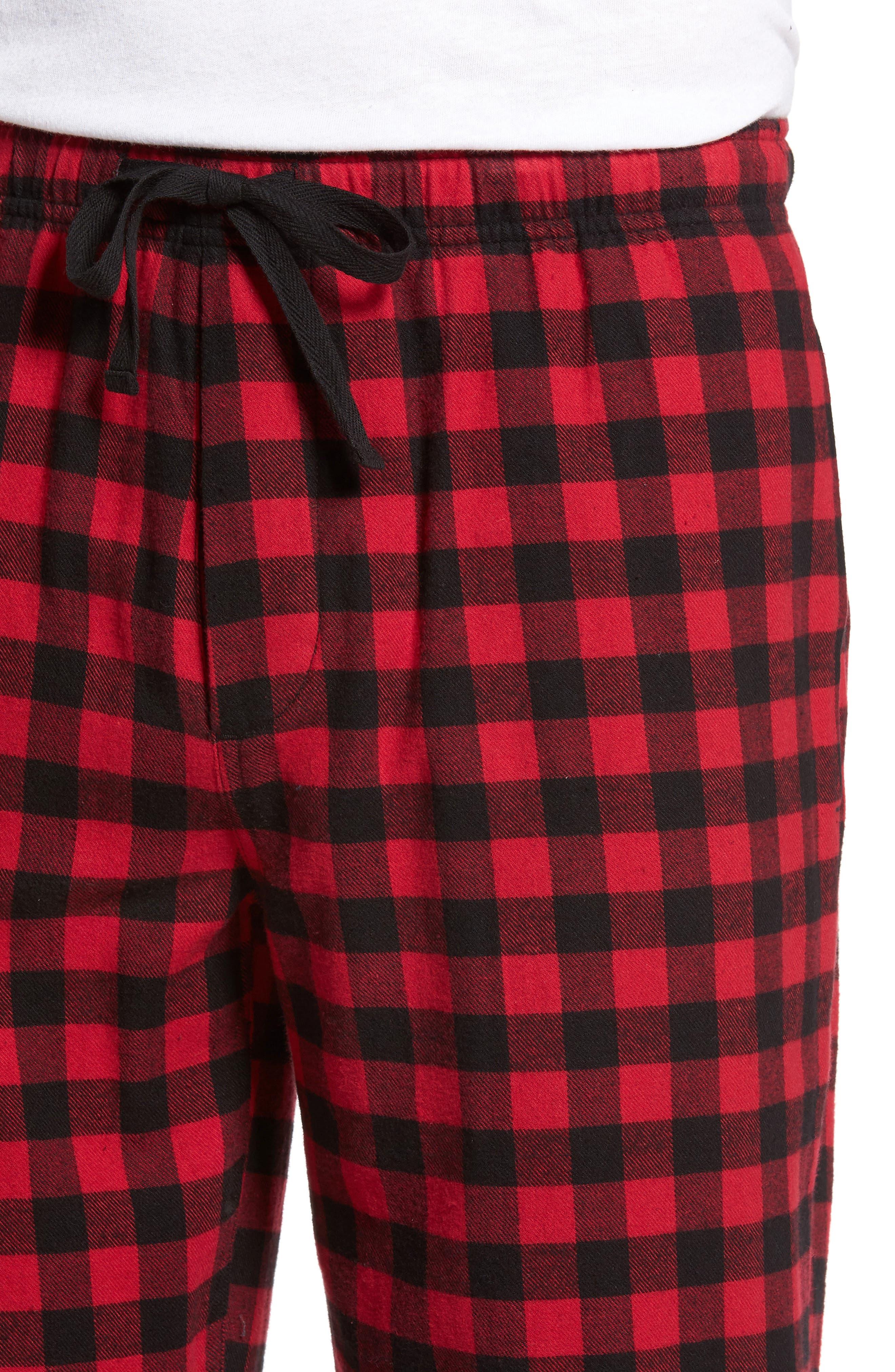 Flannel Pajama Pants,                             Alternate thumbnail 4, color,                             RED CHILI- BLACK BUFFALO