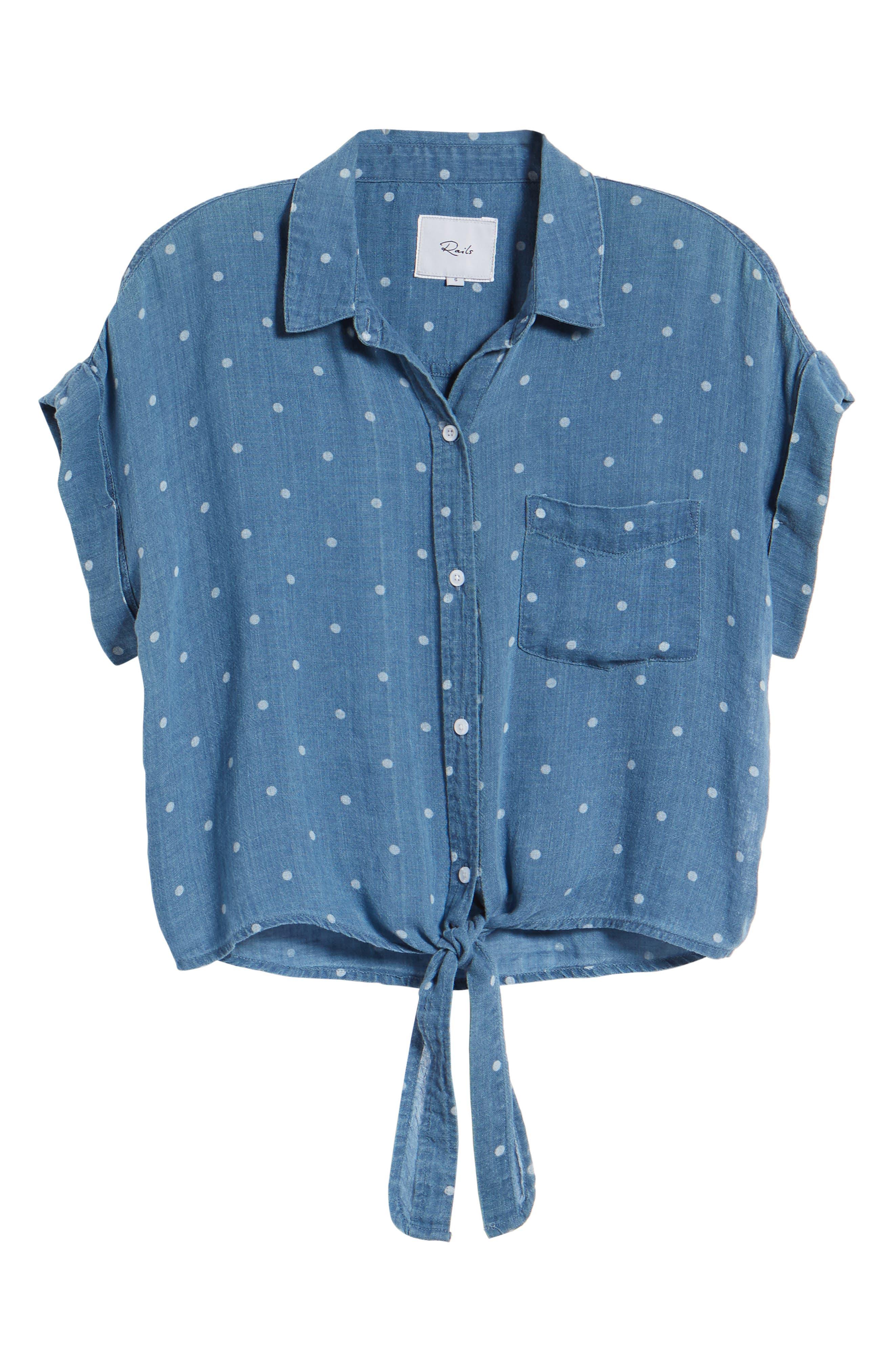 Amelie Tie Front Shirt,                             Alternate thumbnail 7, color,                             INDIGO WHITE POLKA DOTS