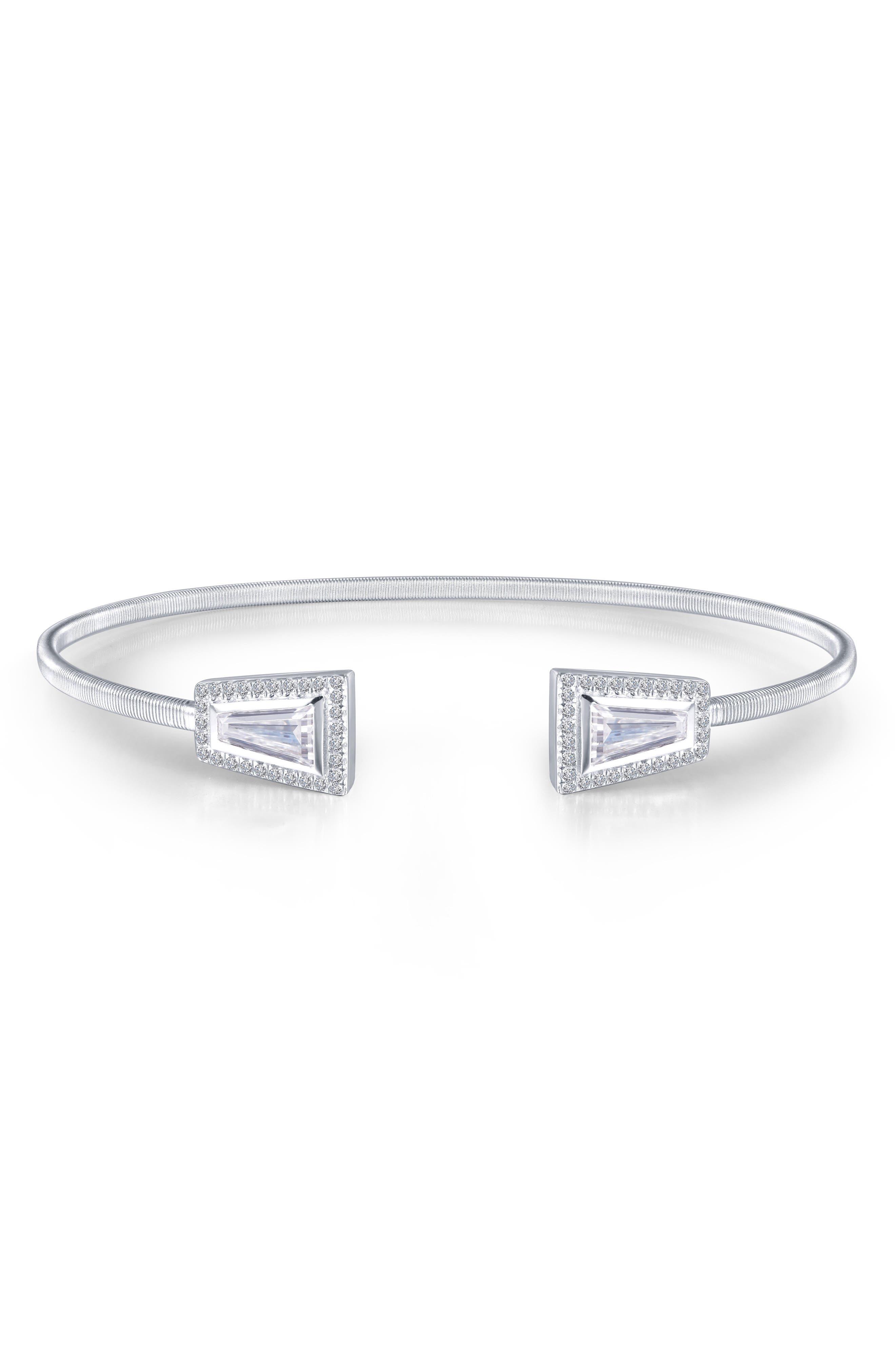 Bezel Cuff Bracelet,                             Alternate thumbnail 2, color,                             SILVER/ CLEAR