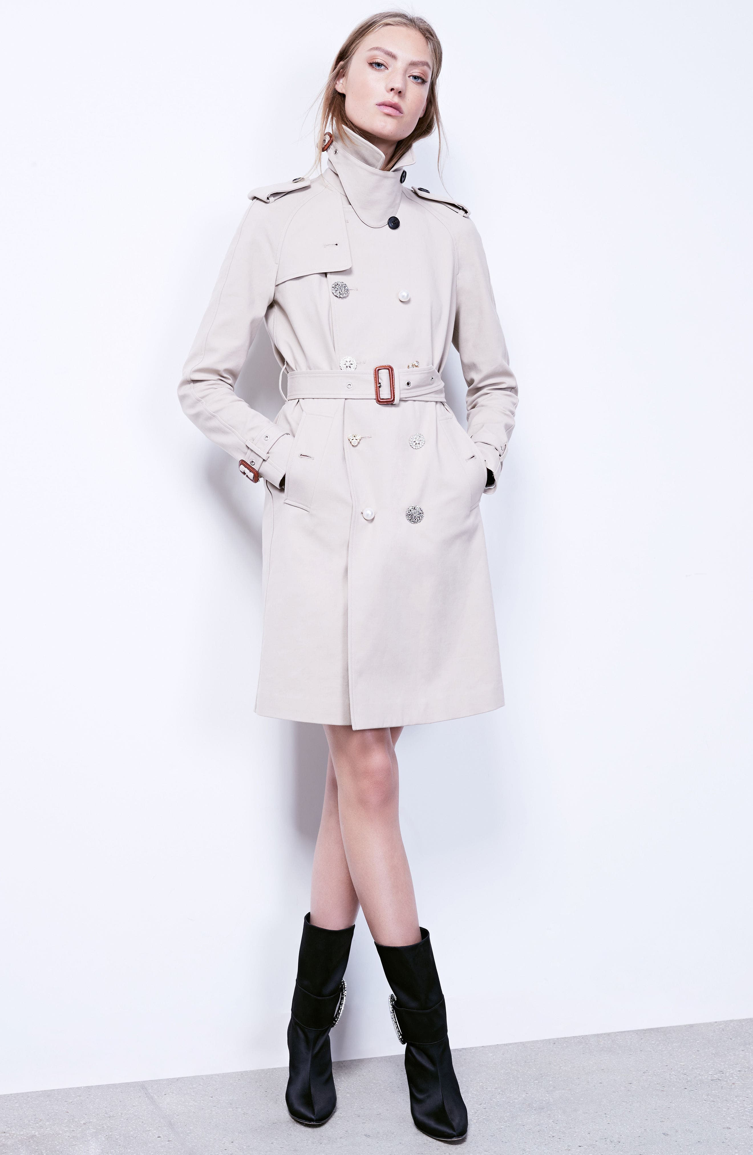 Embellished Button Trench Coat,                             Alternate thumbnail 11, color,                             250
