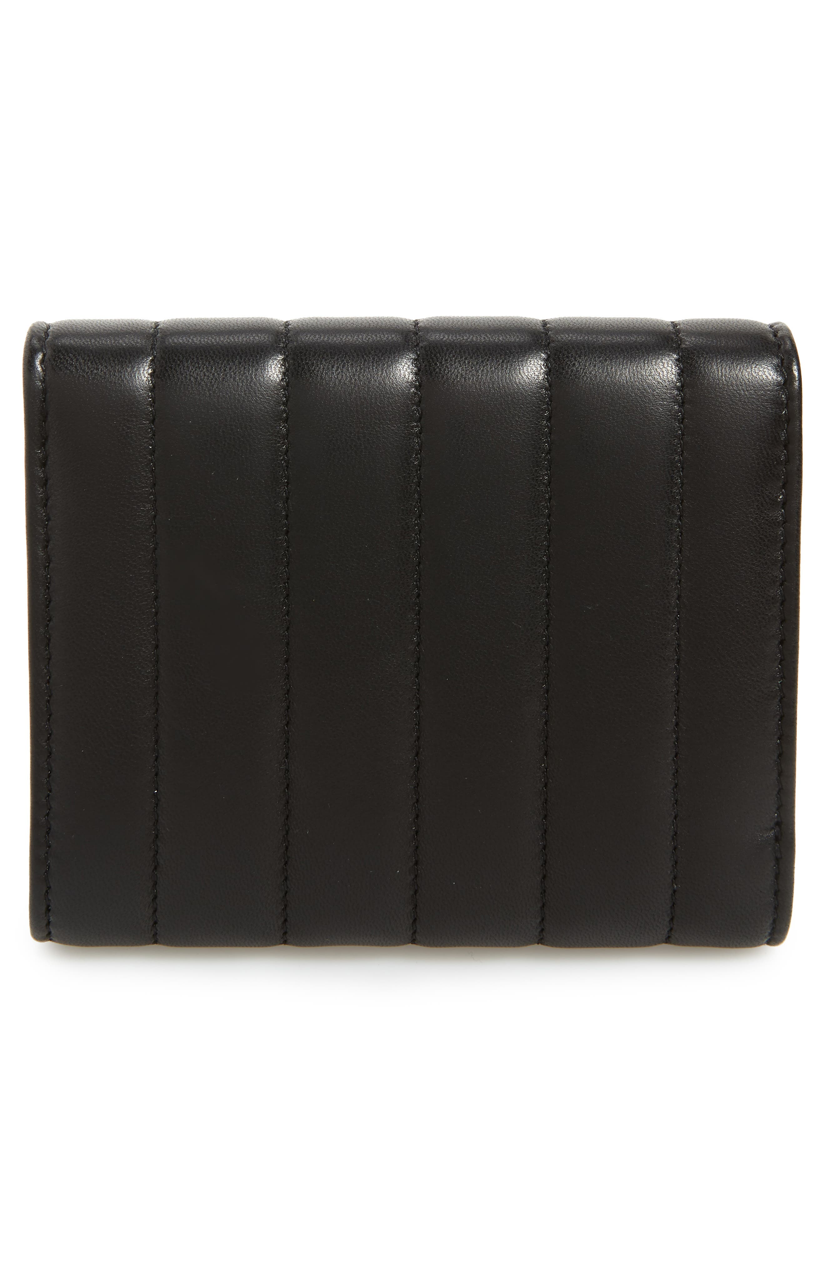 Vicky Lambskin Leather Trifold Wallet,                             Alternate thumbnail 4, color,                             NOIR
