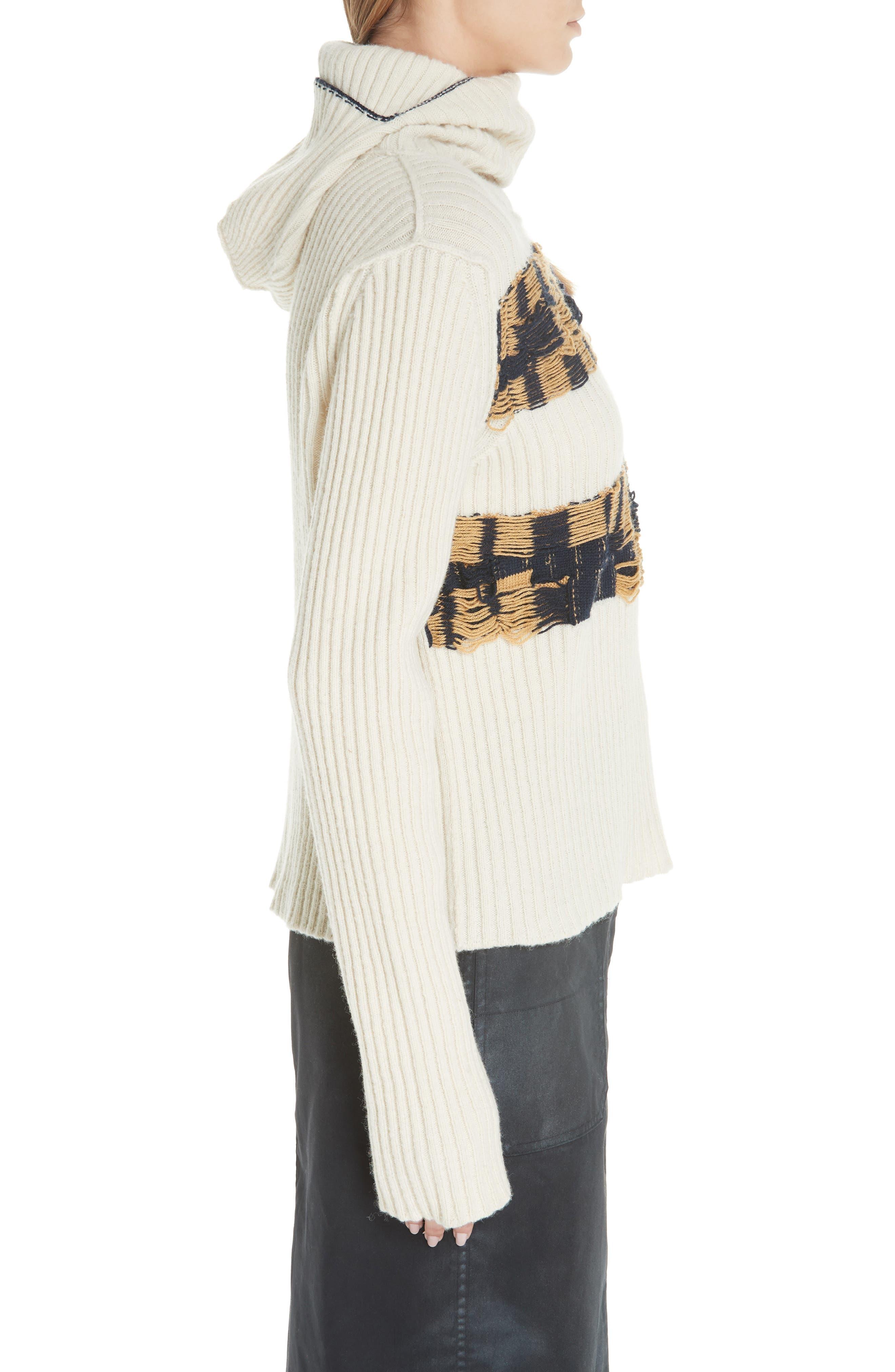 Quilt Jacquard Stripe Sweater,                             Alternate thumbnail 3, color,                             ECRU HAY NAVY