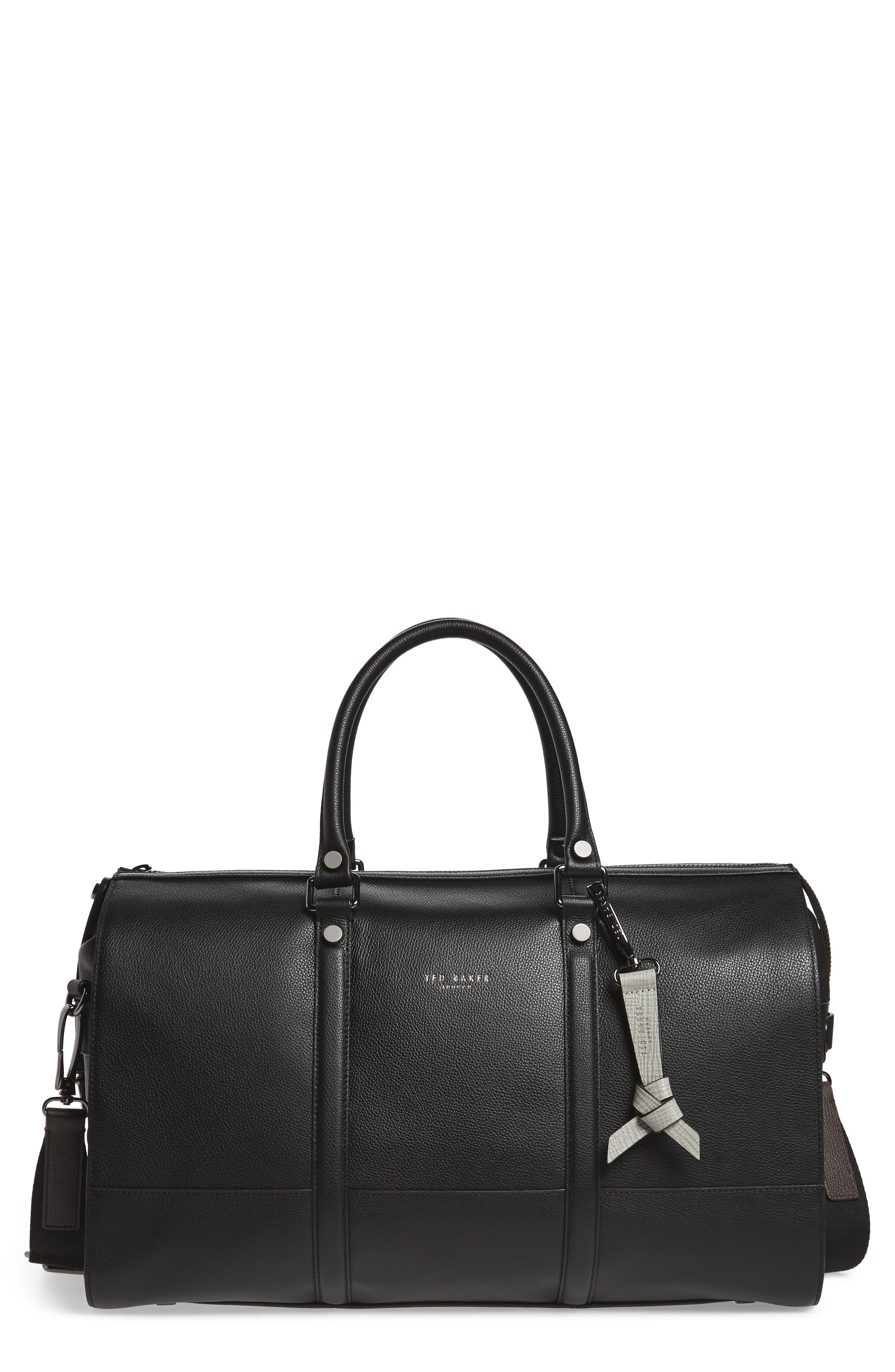 Leather Duffel Bag,                             Main thumbnail 1, color,                             001