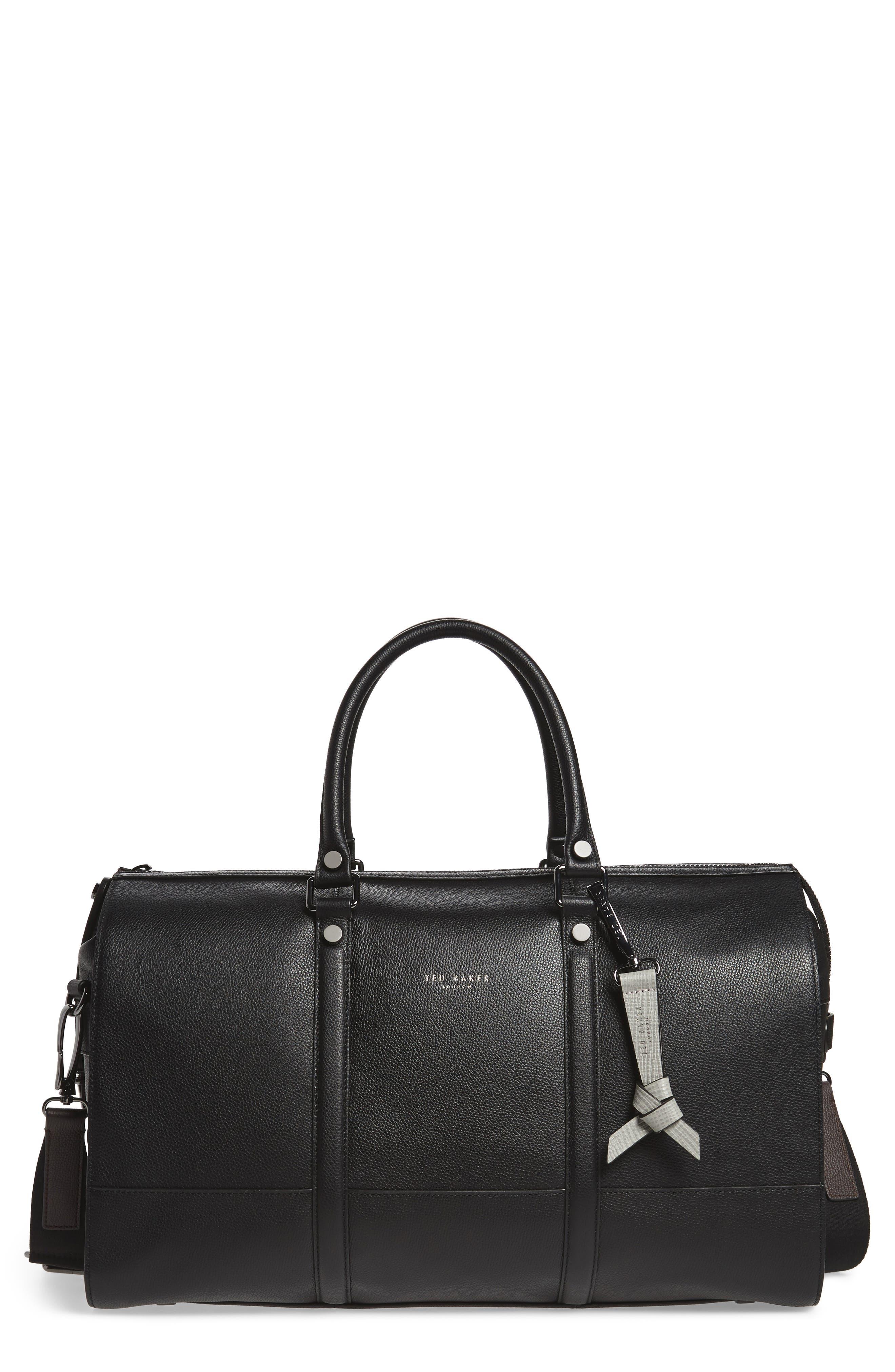 Leather Duffel Bag,                         Main,                         color, 001