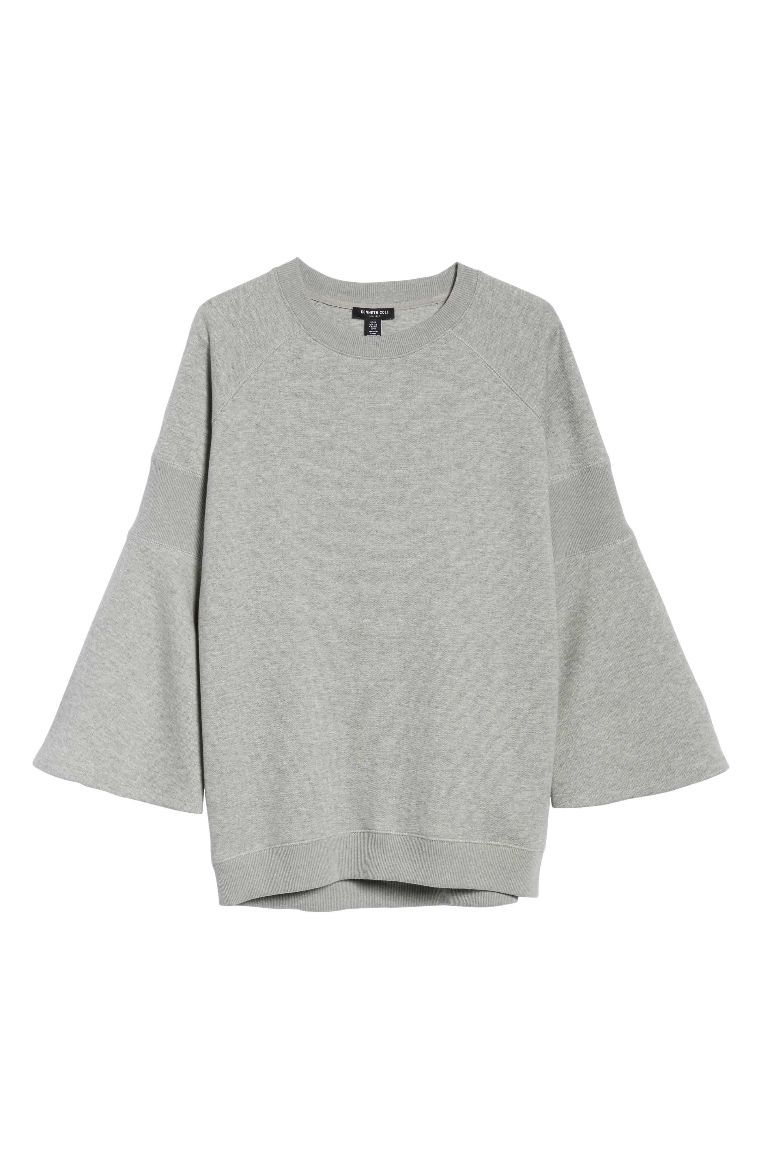 Bell Sleeve Ribbed Sweatshirt,                             Alternate thumbnail 6, color,                             089