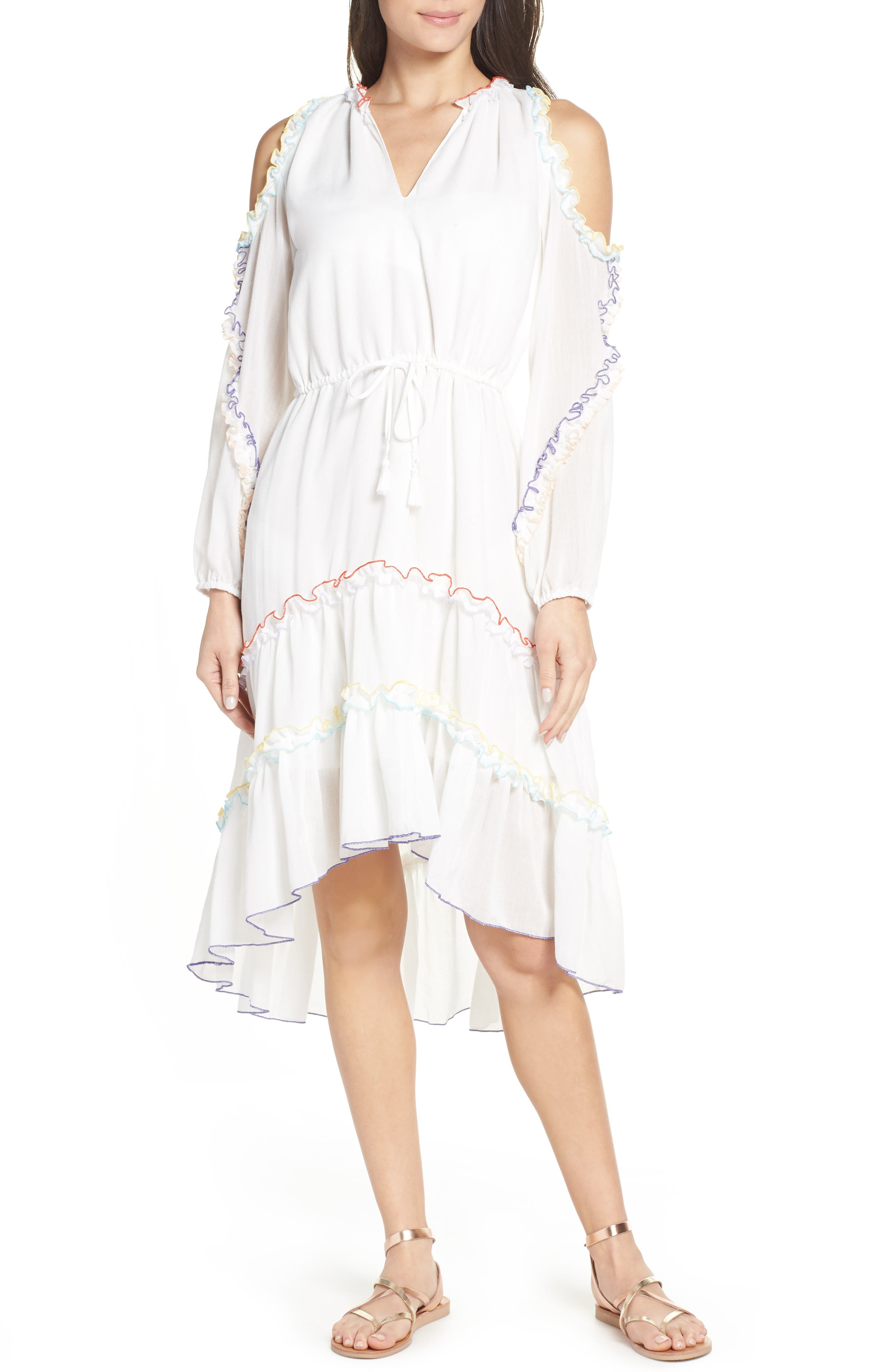 Ruffle High/Low Cold Shoulder Cover-Up Dress in Ivory