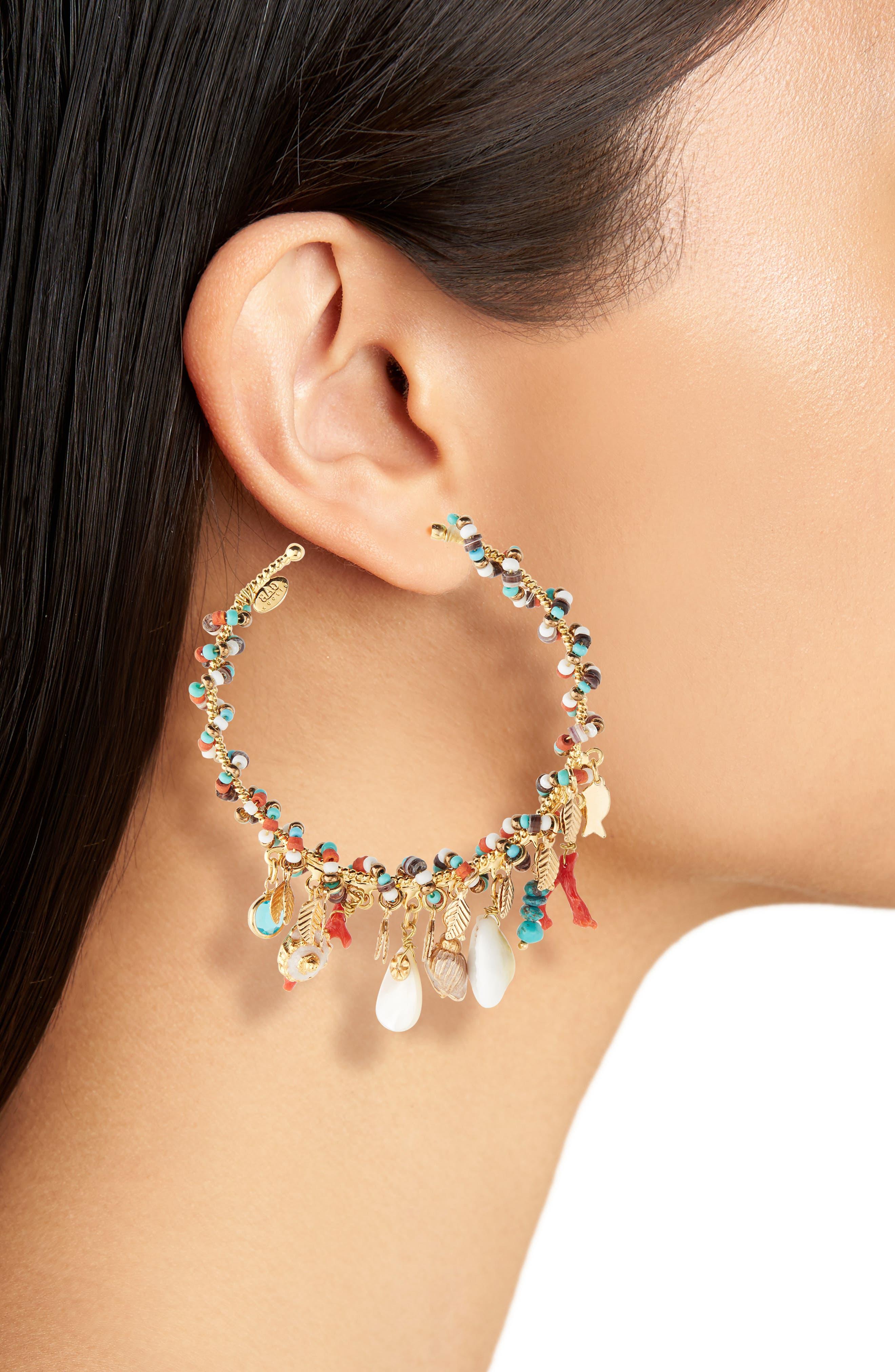 Pondichery Hoop Earrings,                             Alternate thumbnail 2, color,                             GOLD MULTI