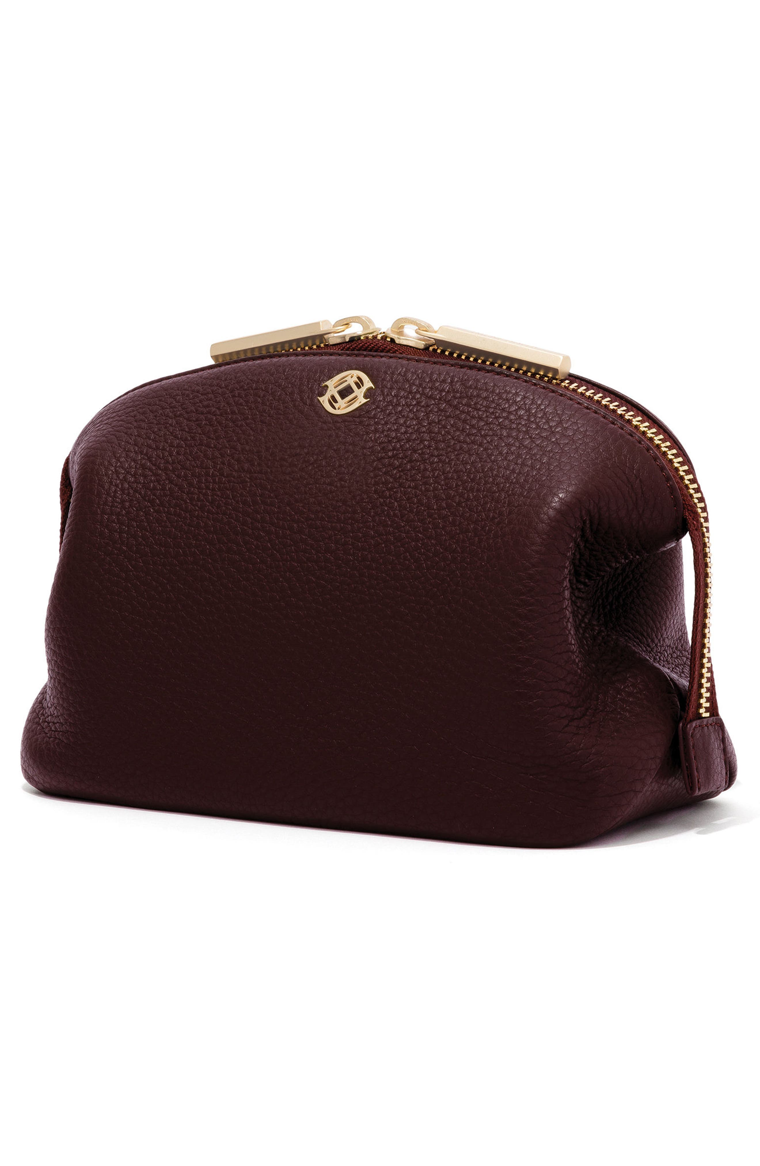Large Lola Leather Cosmetics Pouch,                             Alternate thumbnail 5, color,                             OXBLOOD