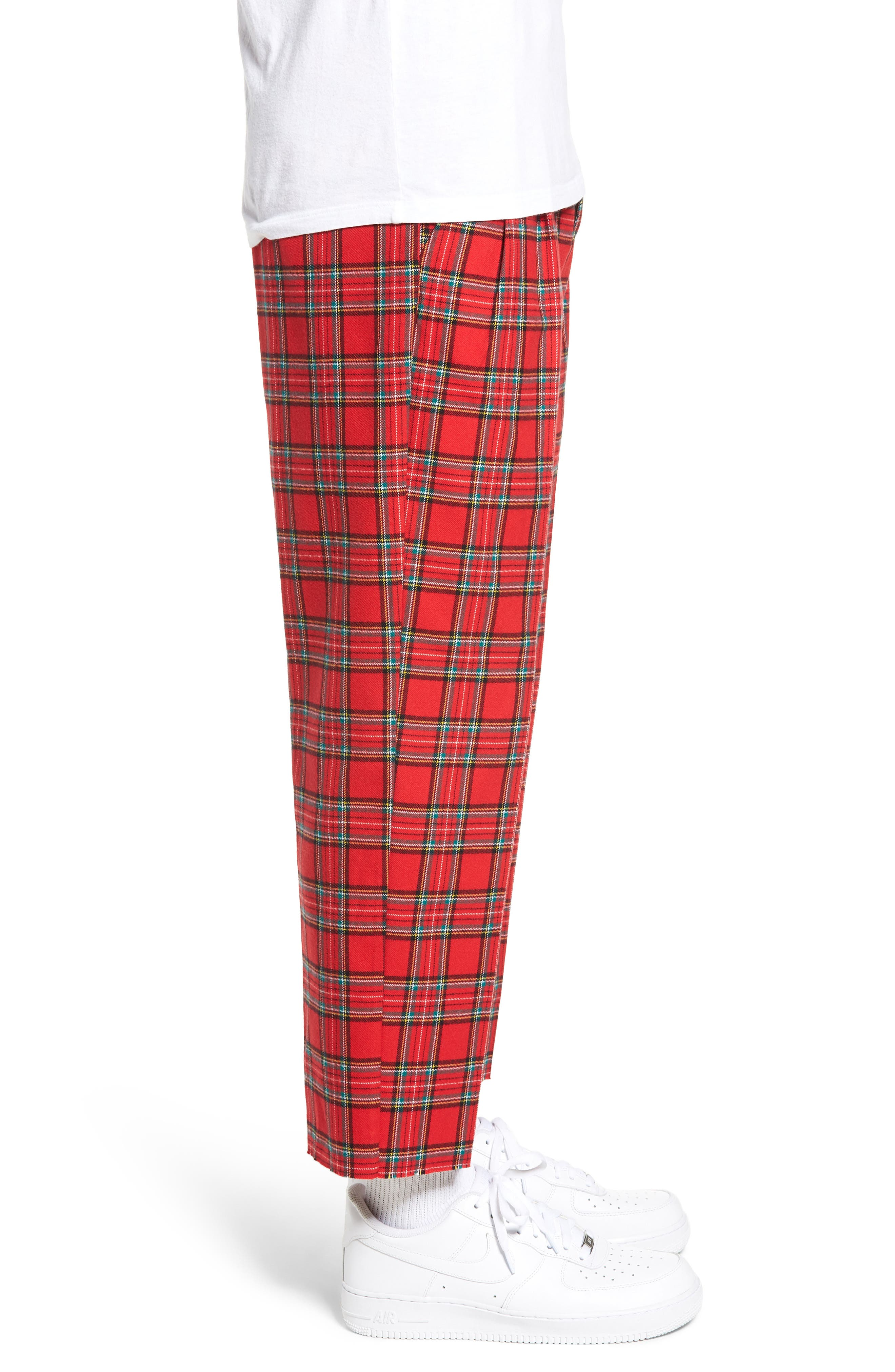 Pleated Plaid Crop Pants,                             Alternate thumbnail 3, color,                             GREY CHARCOAL GLENN PLAID
