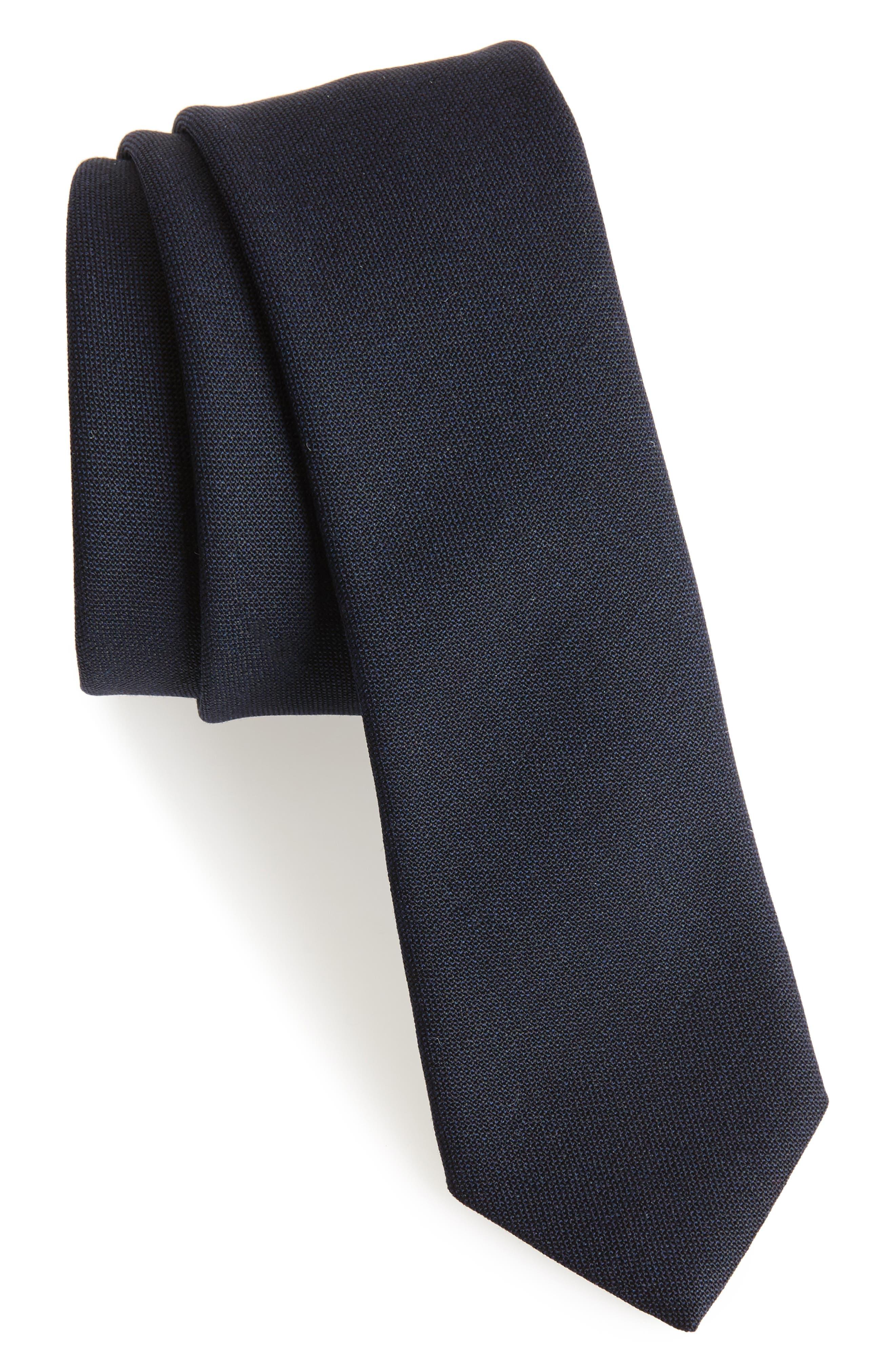Jaspé Wool Skinny Tie,                             Main thumbnail 4, color,