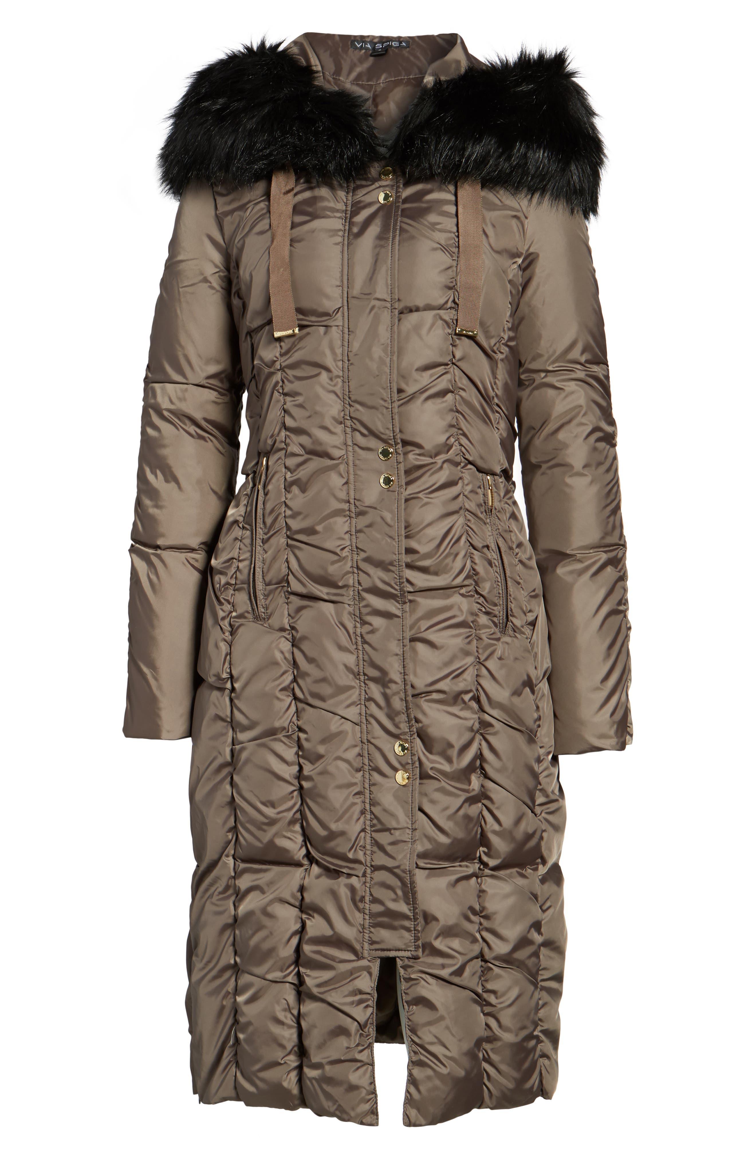 Long Faux Fur Trim Coat,                             Alternate thumbnail 10, color,