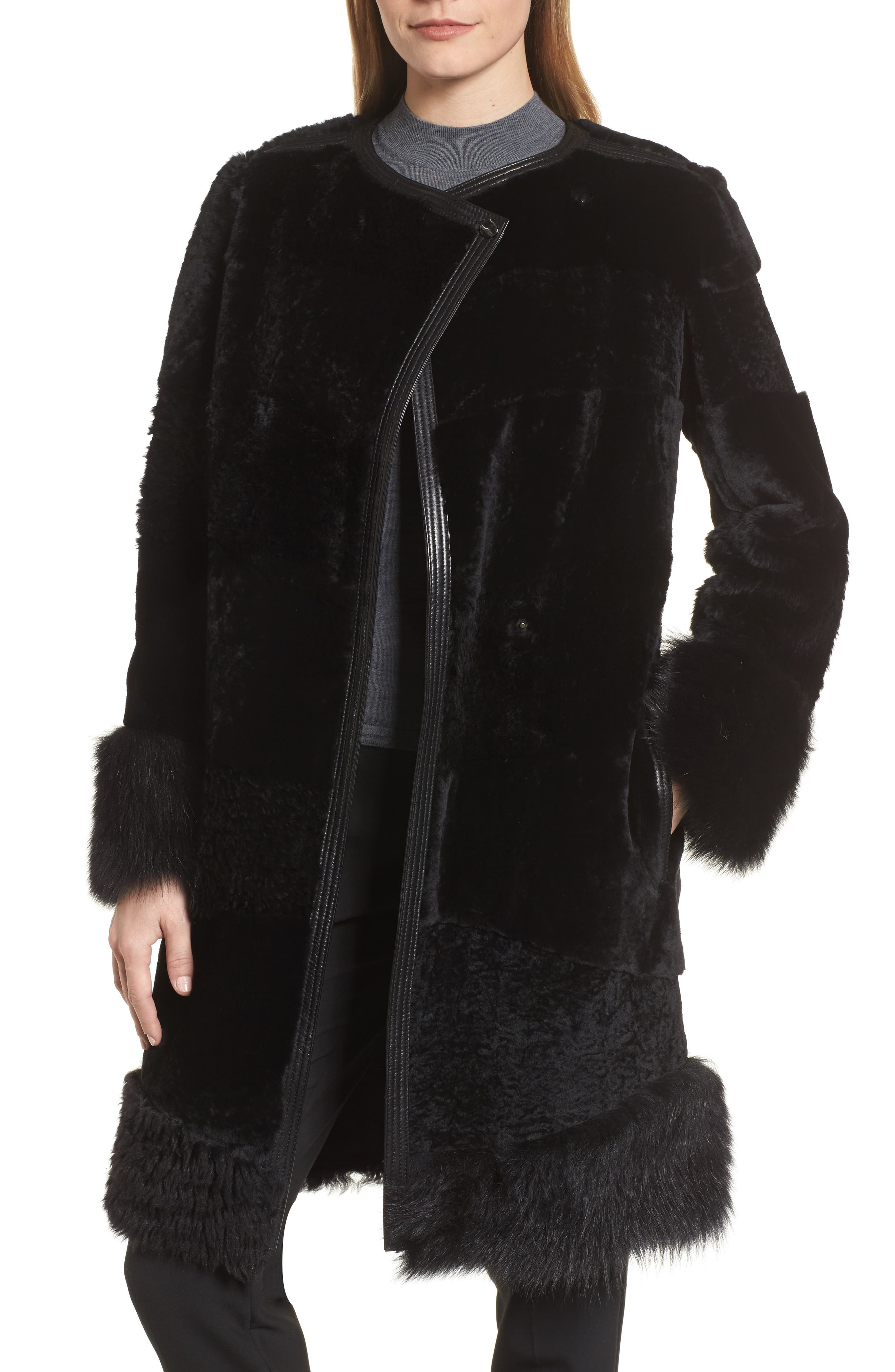 Sopora Long Genuine Shearling & Leather Trim Jacket,                             Alternate thumbnail 4, color,                             001